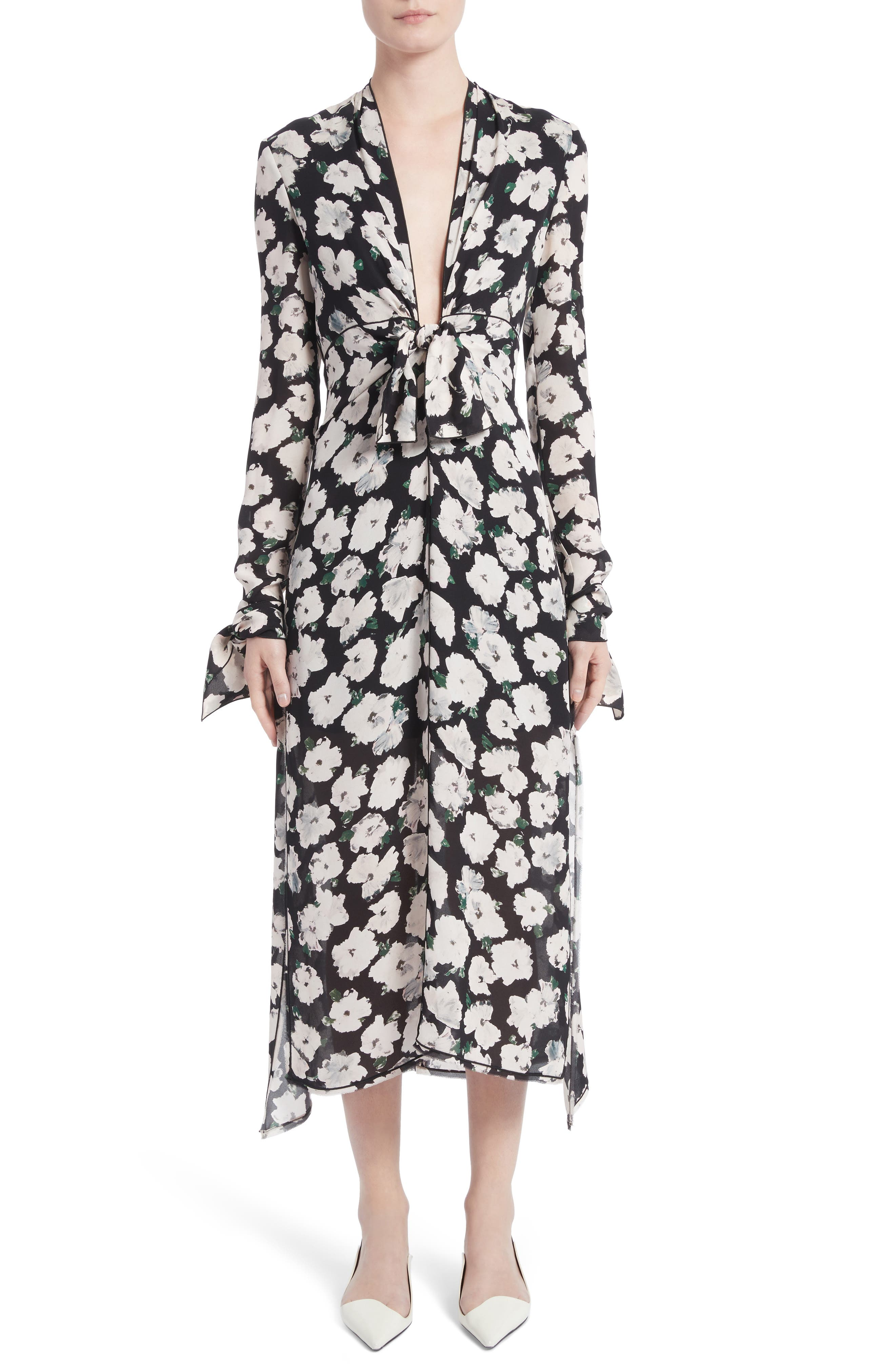 Print Silk Midi Dress,                             Main thumbnail 1, color,                             001