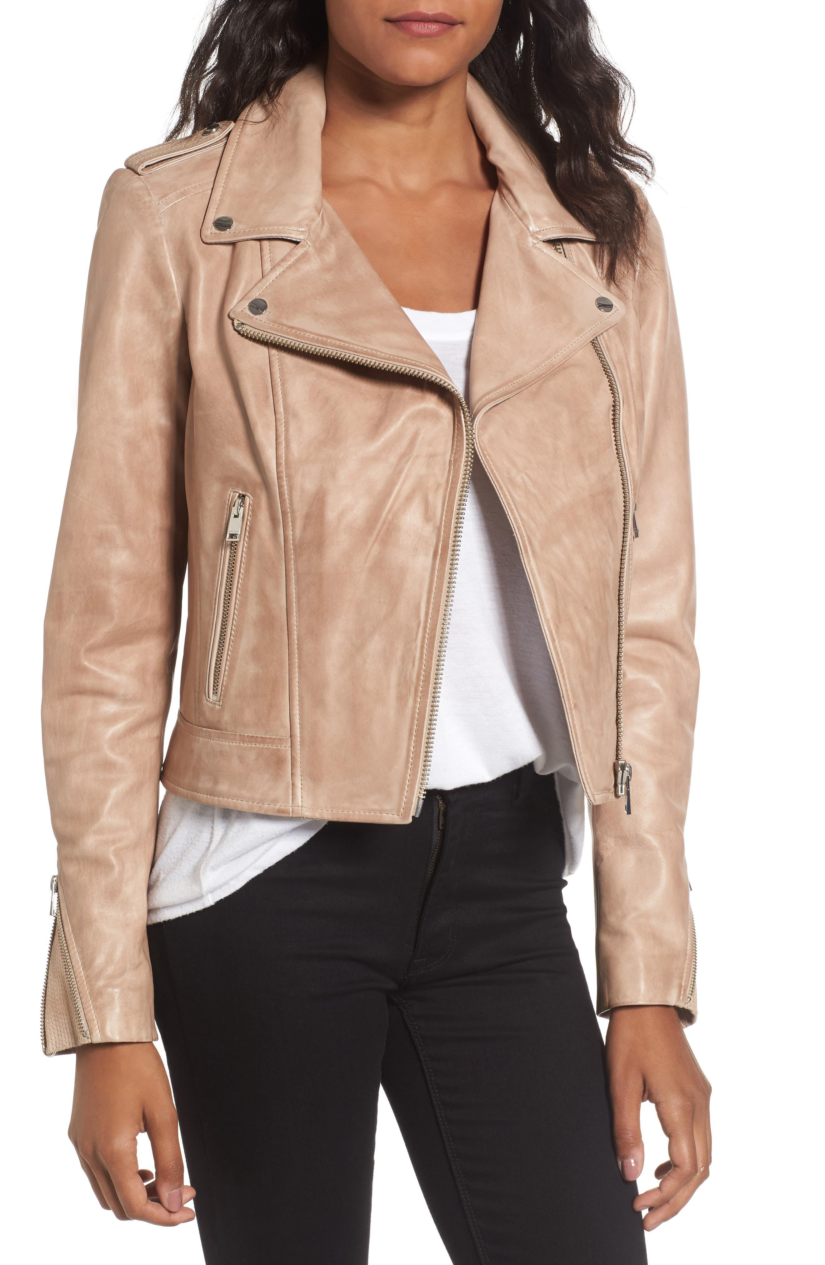 Donna Lambskin Leather Moto Jacket,                             Main thumbnail 1, color,                             253