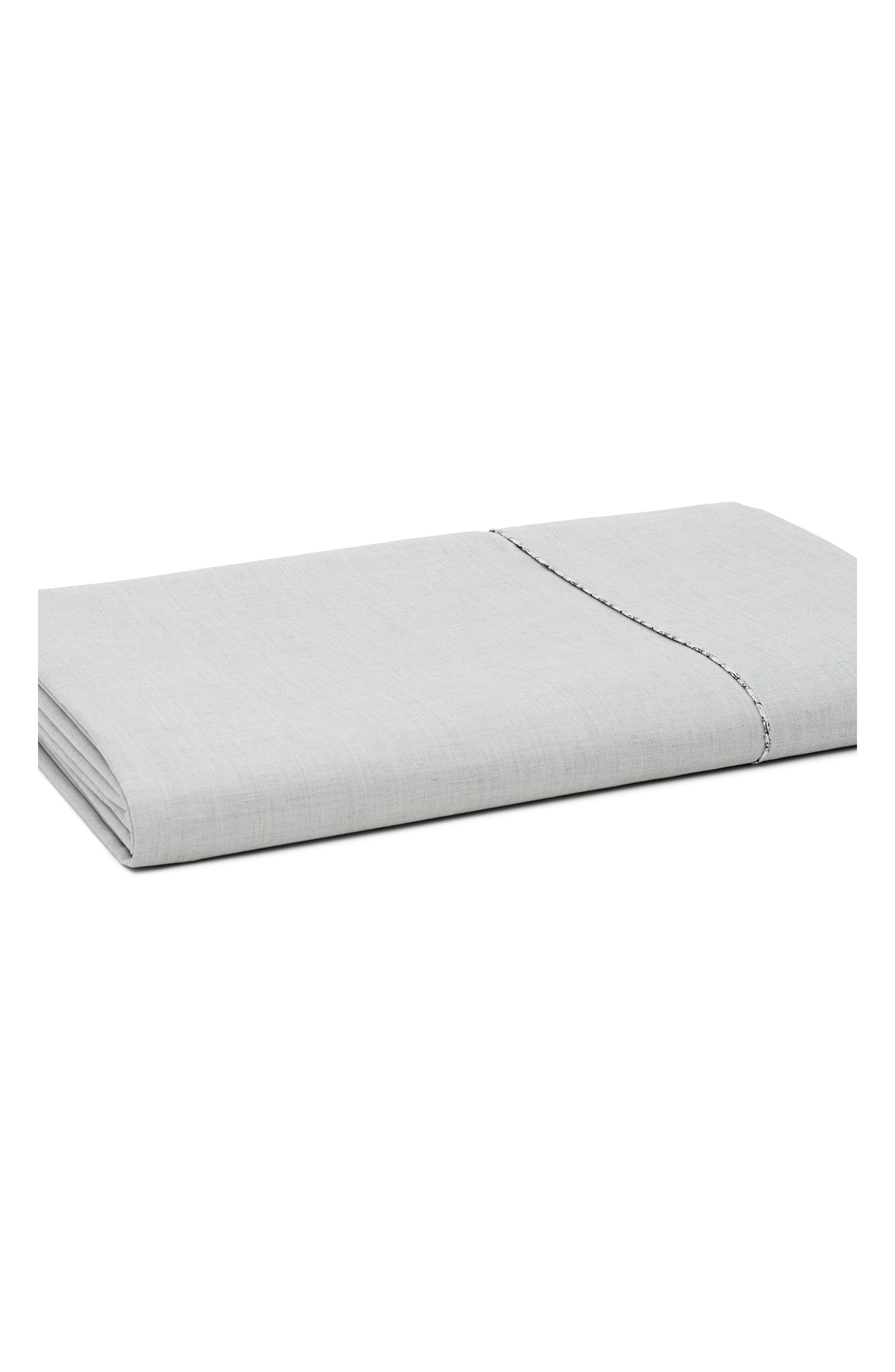 ROBERT GRAHAM Fine Line 360 Thread Count Flat Sheet, Main, color, CHARCOAL