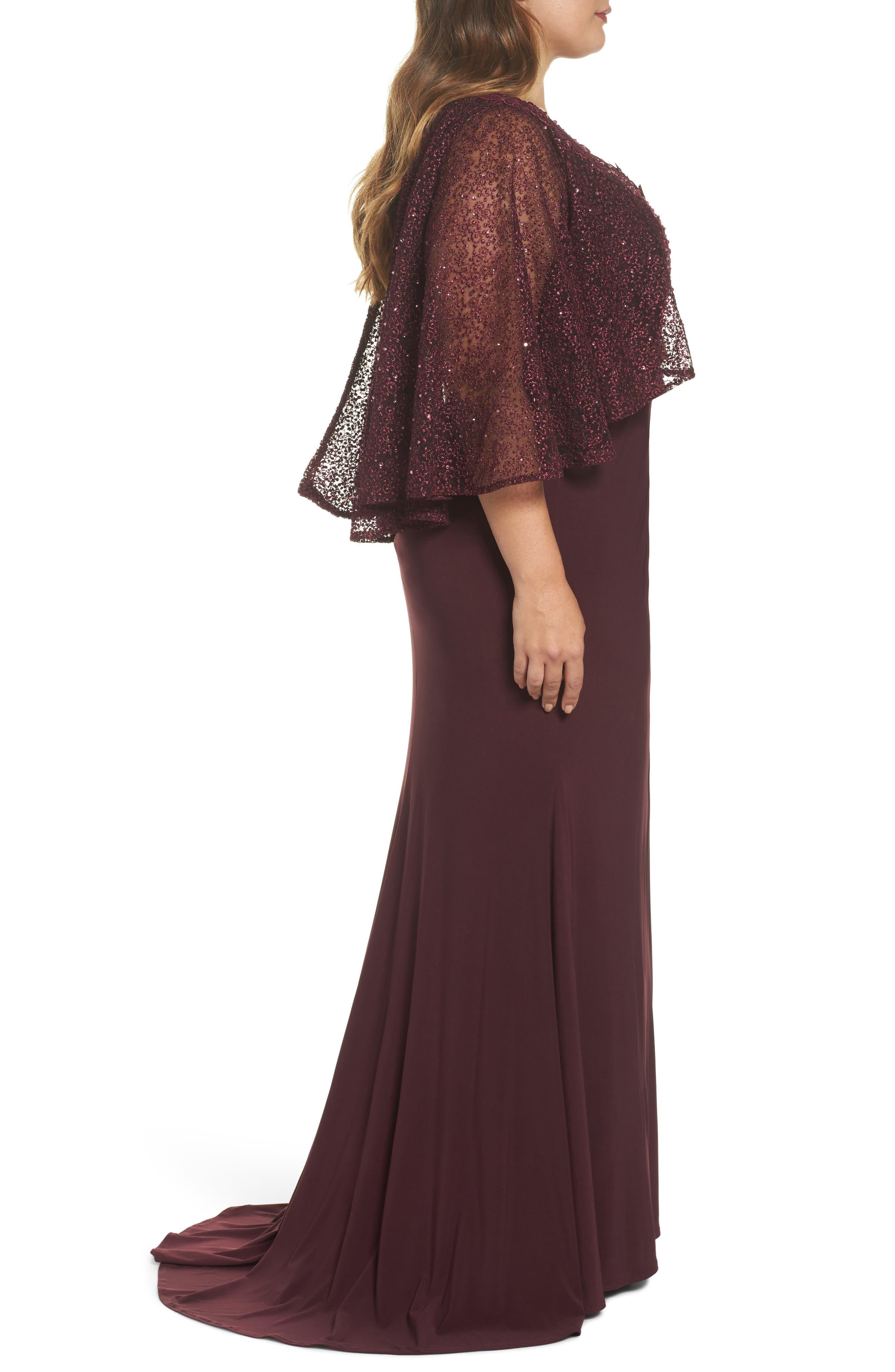 Lace Capelet Column Gown,                             Alternate thumbnail 3, color,                             BURGUNDY