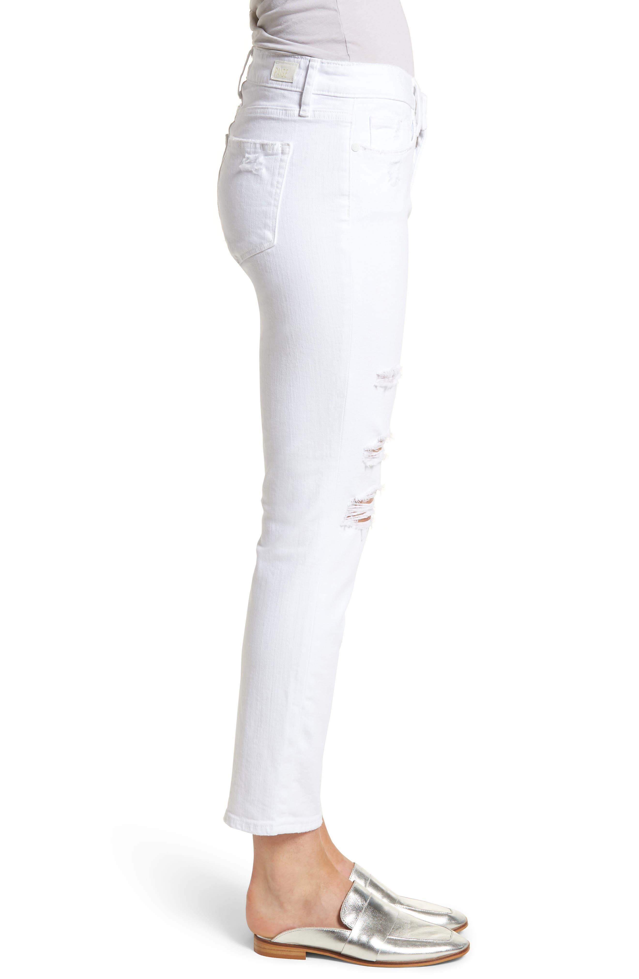 Brigitte Ripped Crop Boyfriend Jeans,                             Alternate thumbnail 3, color,                             100