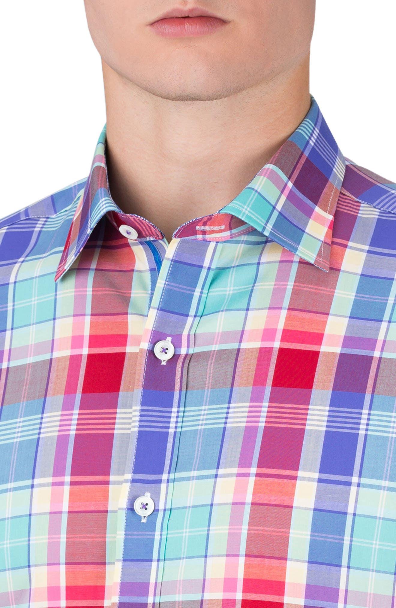 Classic Fit Plaid Sport Shirt,                             Alternate thumbnail 3, color,                             602