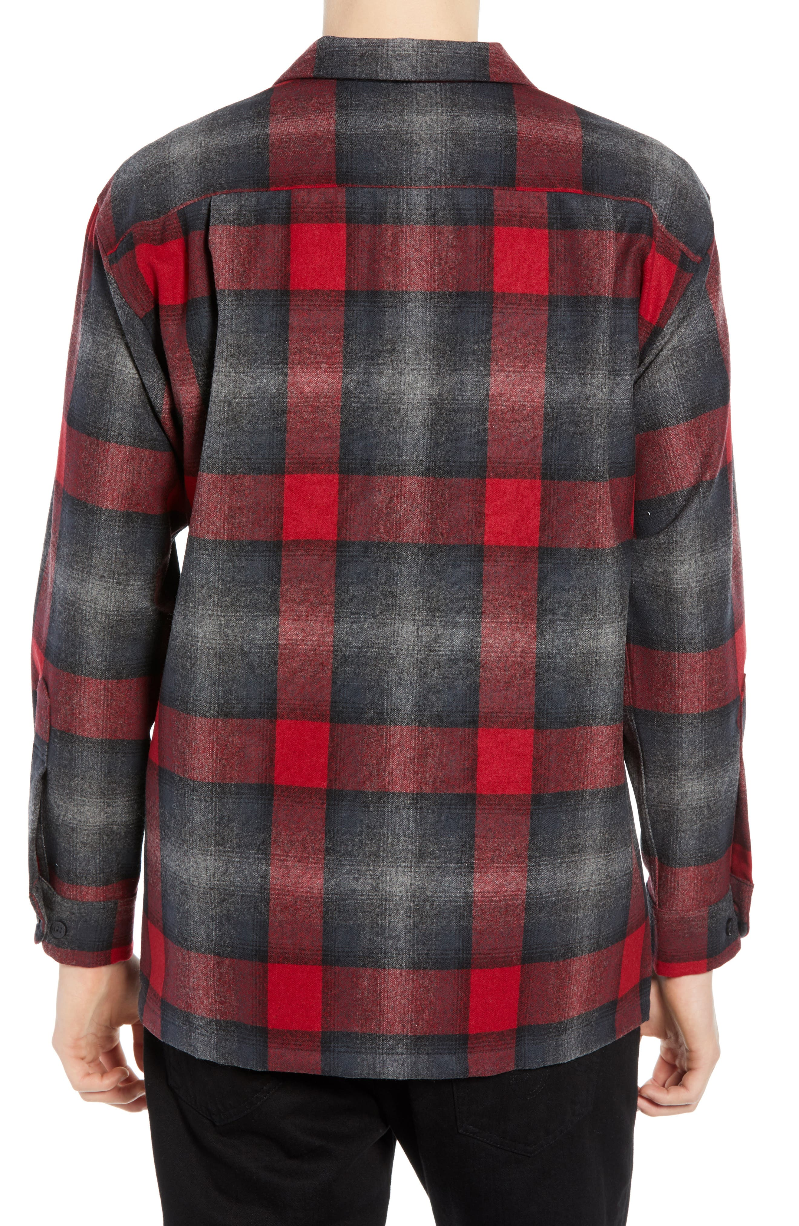 Board Wool Flannel Shirt,                             Alternate thumbnail 3, color,                             BLACK/ GREY MIX/ RED OMBRE