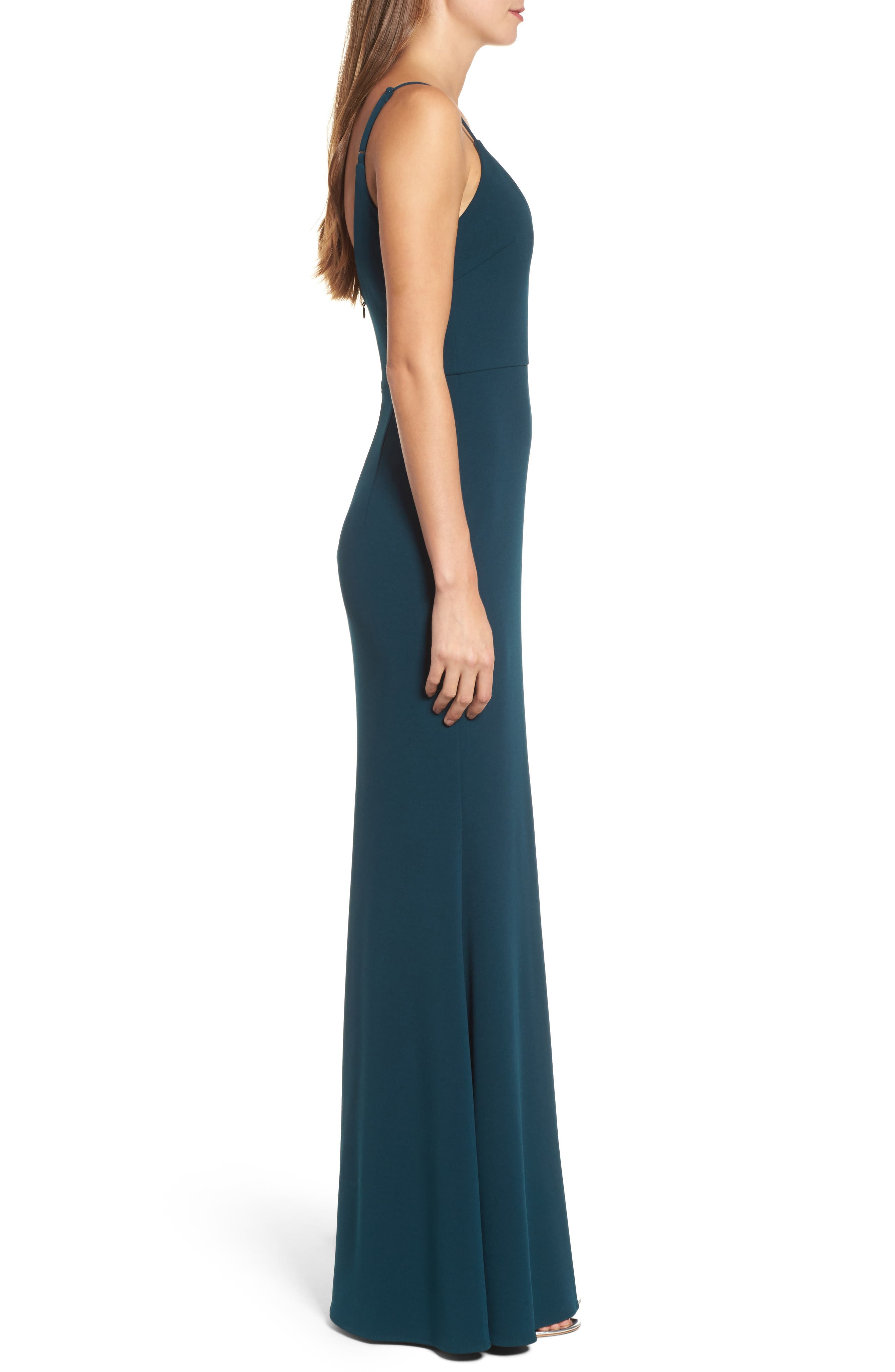 V-Neck Trumpet Gown,                             Alternate thumbnail 3, color,                             EMERALD