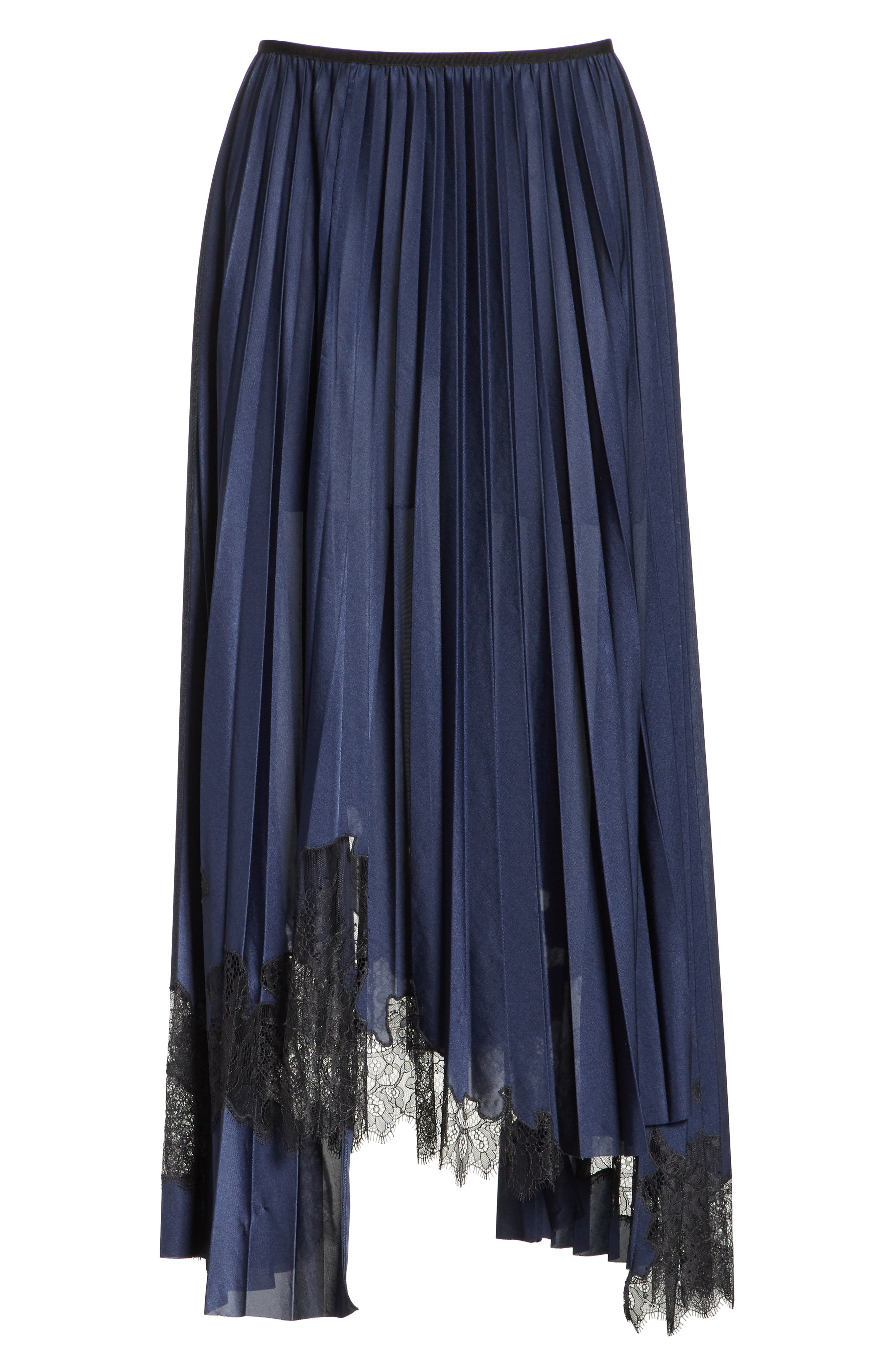 Pleated Lace Inset Skirt,                             Alternate thumbnail 6, color,                             BLUE