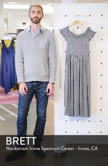 Gingham Off the Shoulder Midi Dress, sales video thumbnail