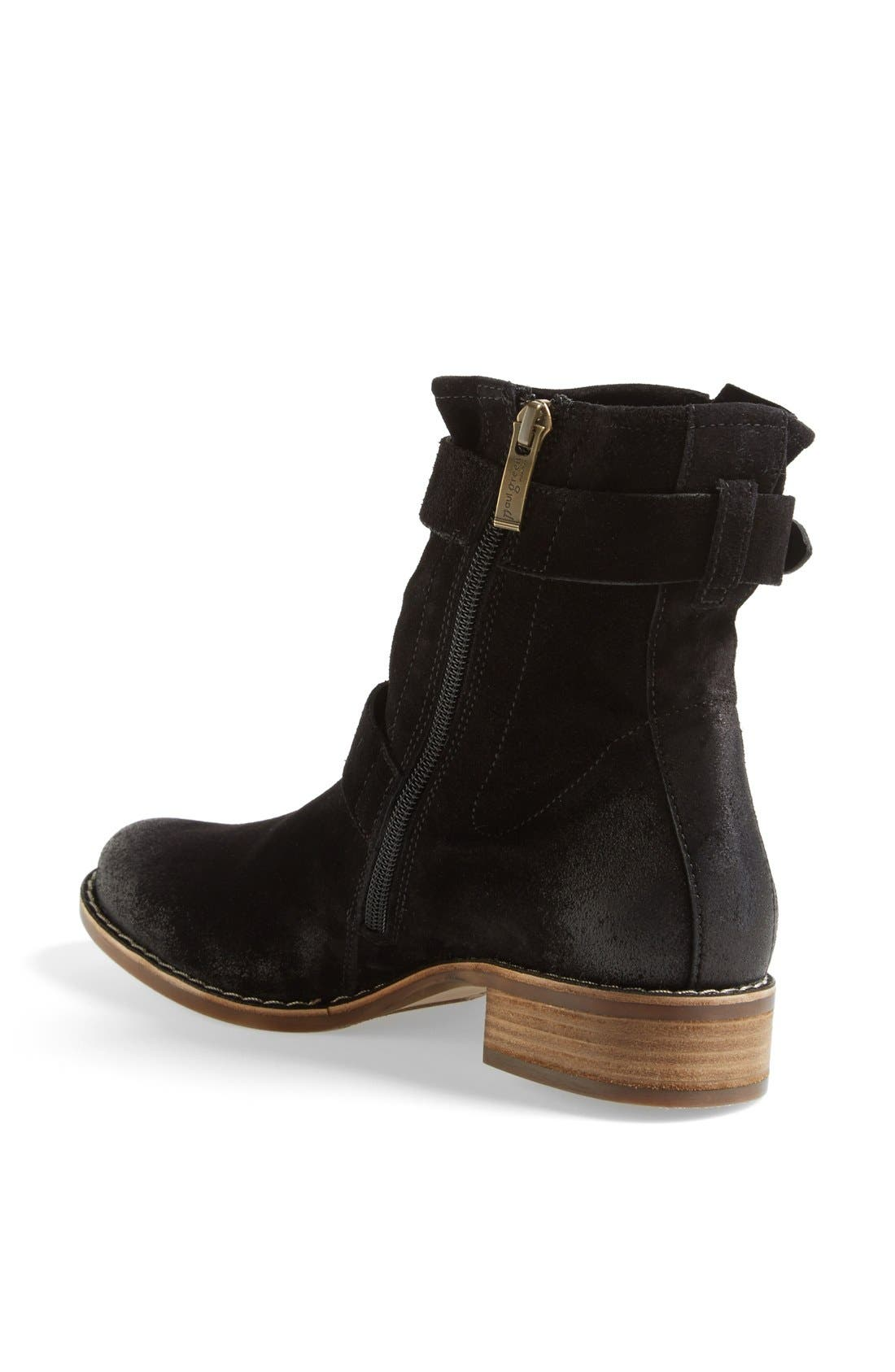 'Ally' Belted Suede Moto Boot,                             Alternate thumbnail 2, color,                             002