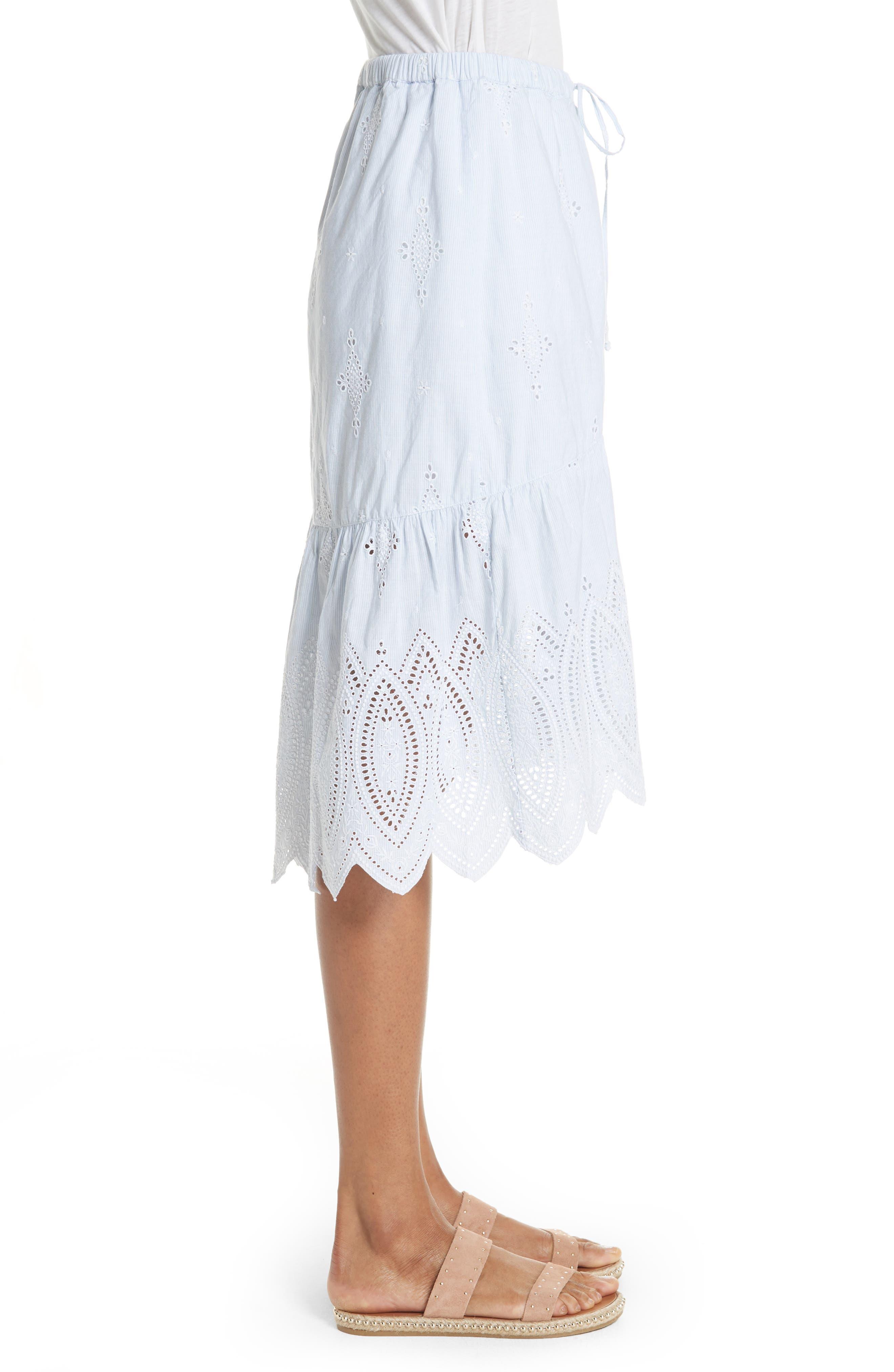 Chantoya Eyelet Scallop Hem Cotton Skirt,                             Alternate thumbnail 3, color,                             DESERT SKY