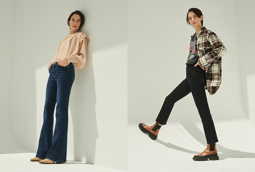 Dark Denim: Two Ways. A woman in full-length jeans and pointy-toe shoes; a woman in cropped jeans and combat boots.