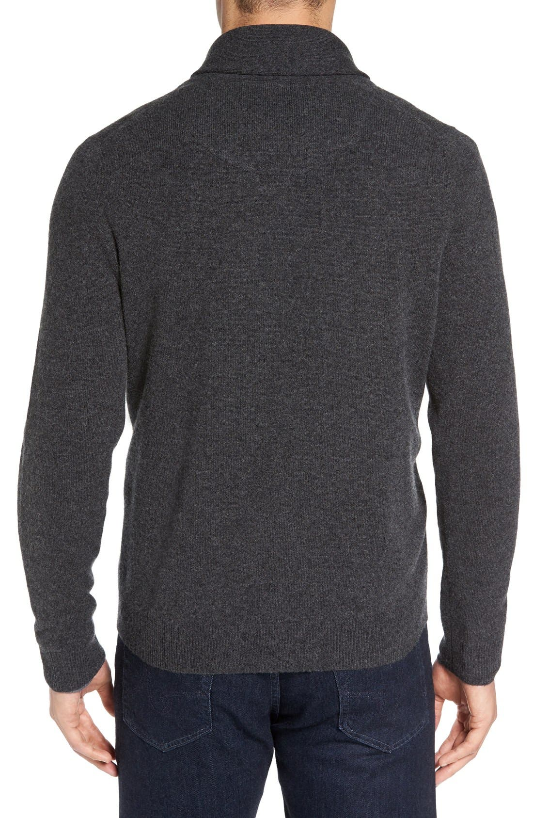 Shawl Collar Cashmere Pullover,                             Alternate thumbnail 2, color,                             GREY DARK CHARCOAL HEATHER