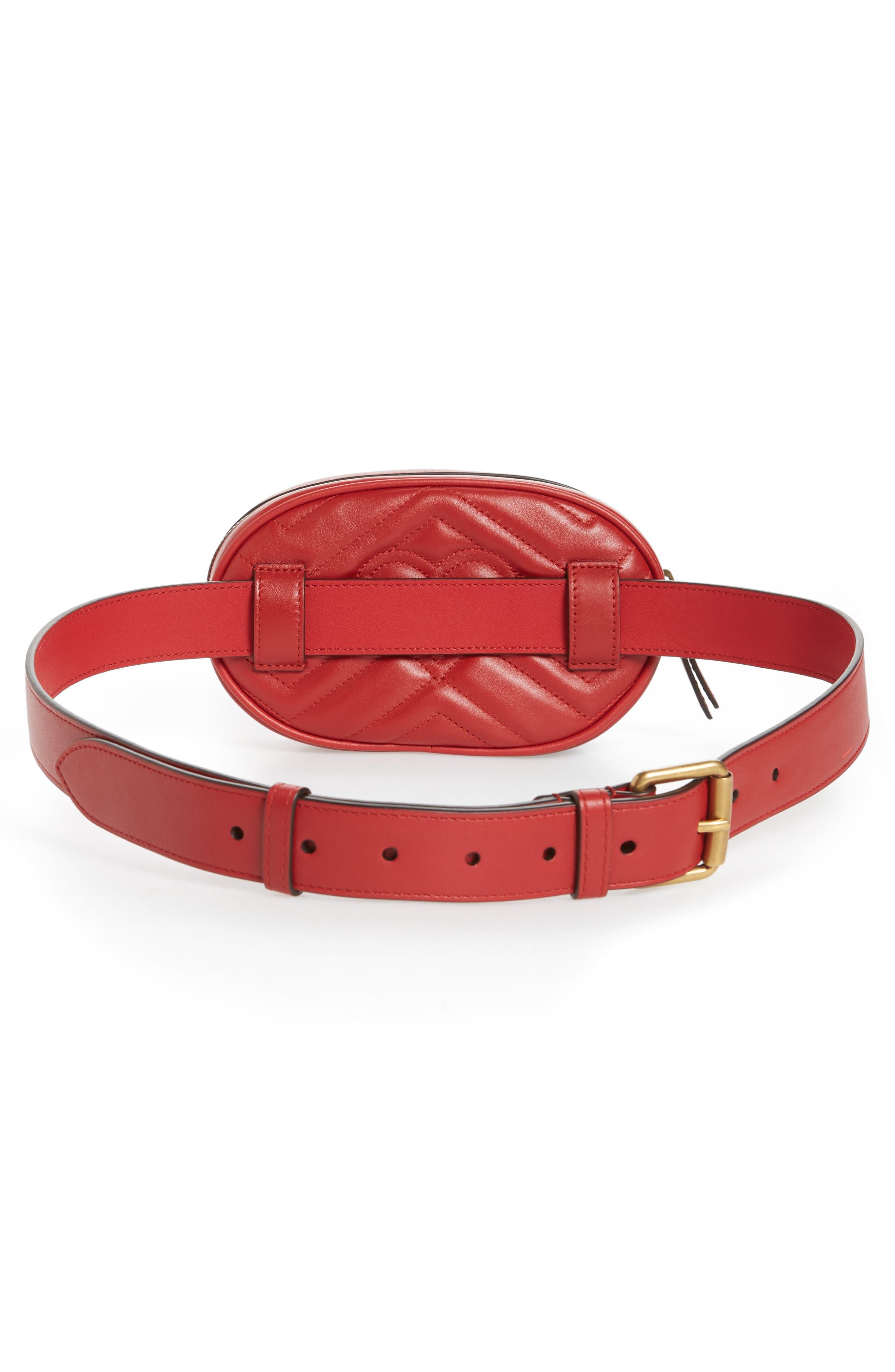 GG Marmont Matelassé Leather Belt Bag,                             Alternate thumbnail 4, color,                             625