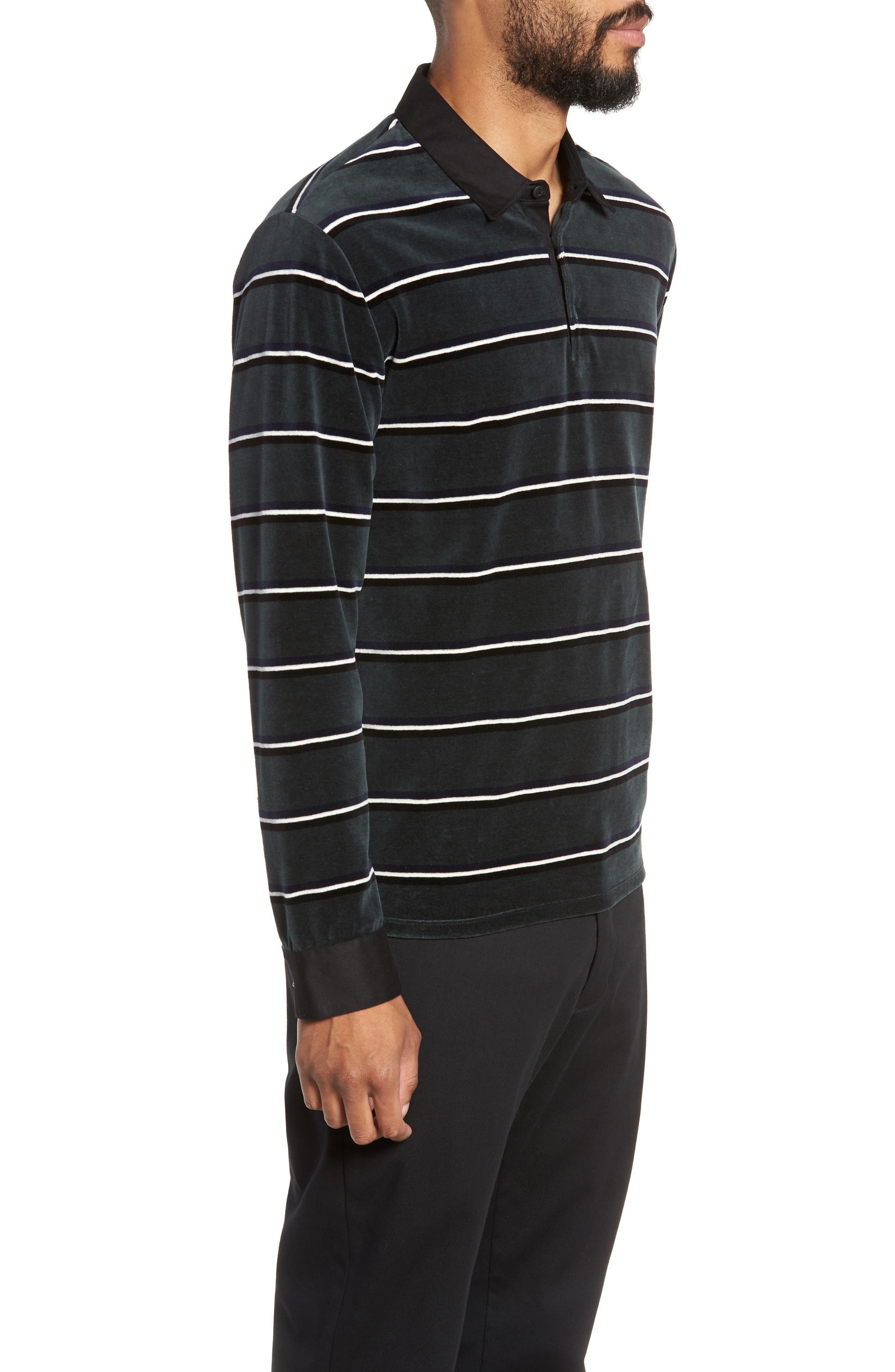 Rugby Stripe Long Sleeve Polo,                             Alternate thumbnail 3, color,                             HUNTER GREEN