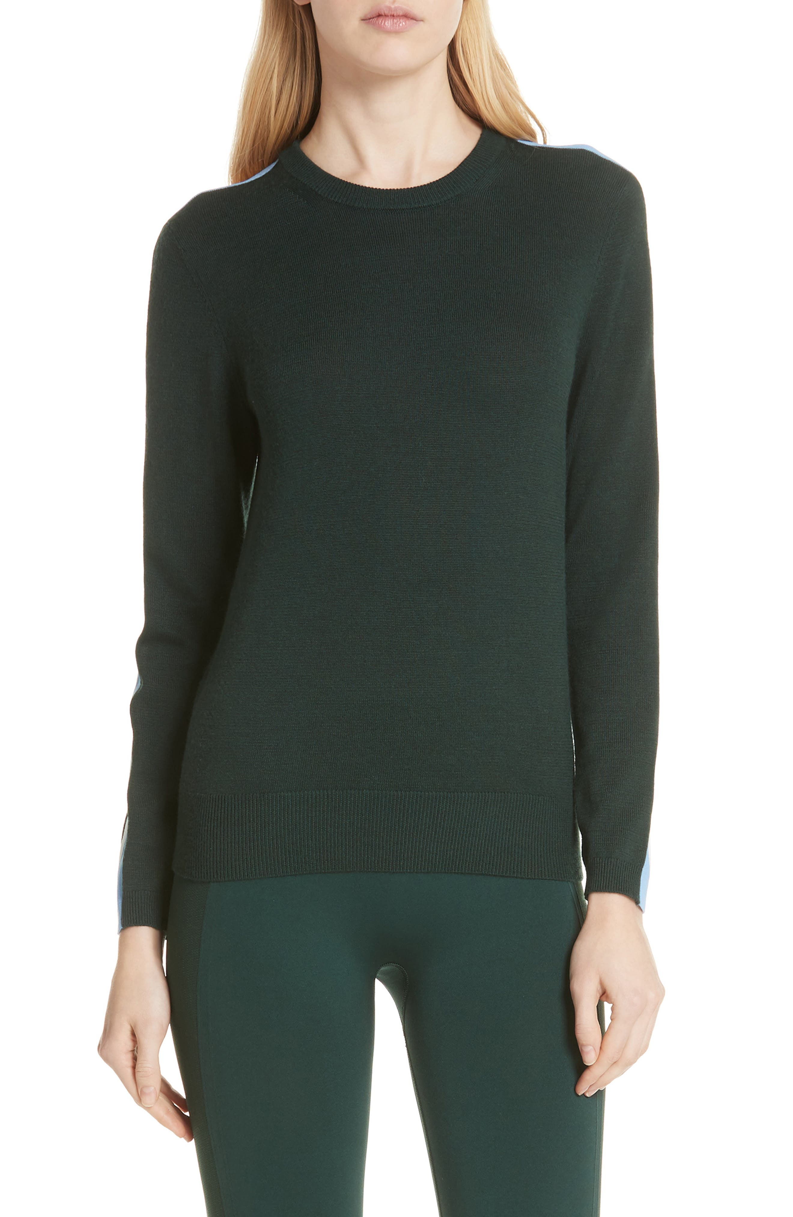 Tory Sport Double Stripe Performance Cashmere Sweater, Green