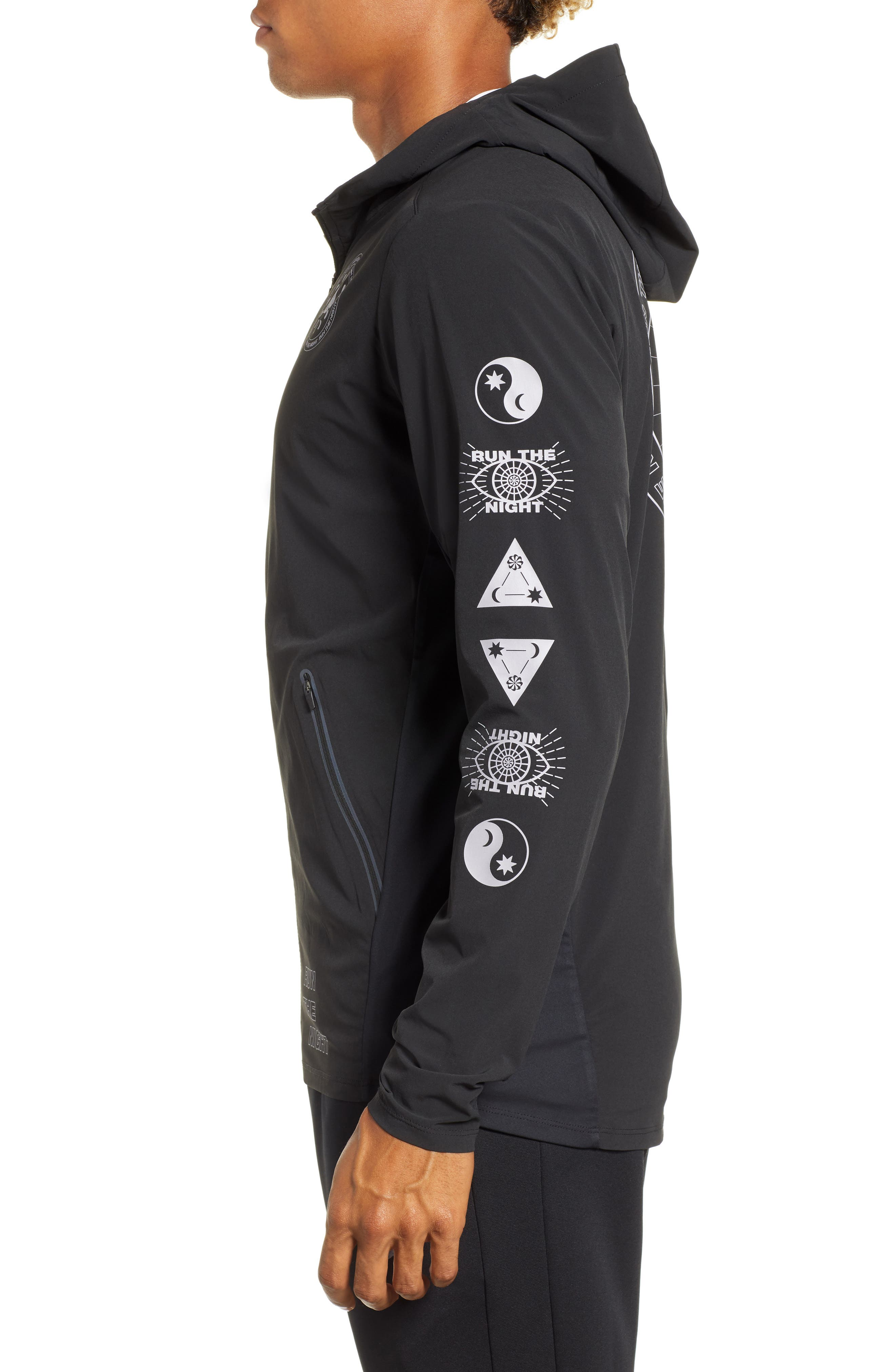Winter Solstice Reflective Running Jacket,                             Alternate thumbnail 4, color,                             BLACK/ PROVENCE PURPLE