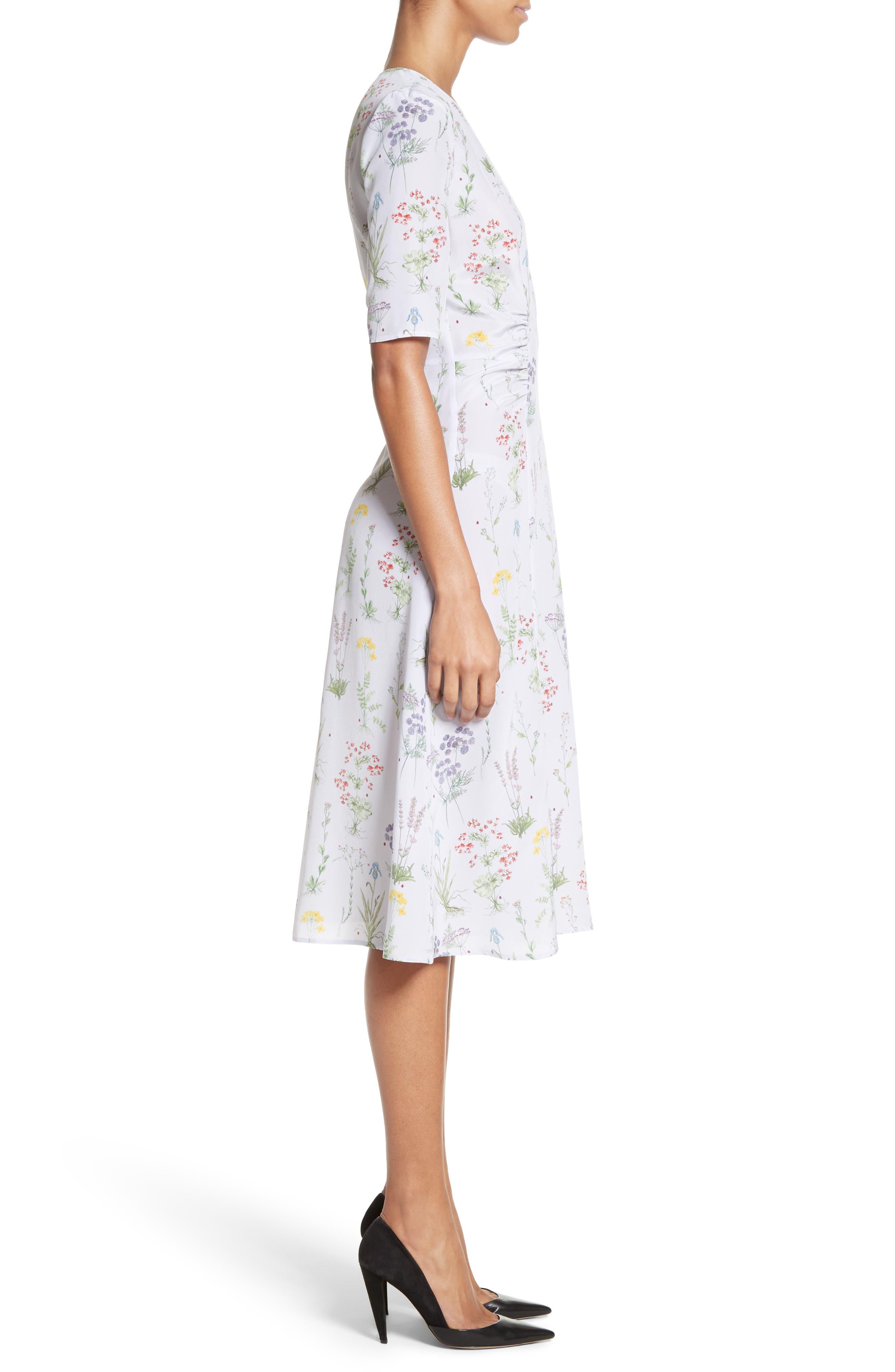 Sylvia Floral Silk A-Line Dress,                             Alternate thumbnail 3, color,                             582