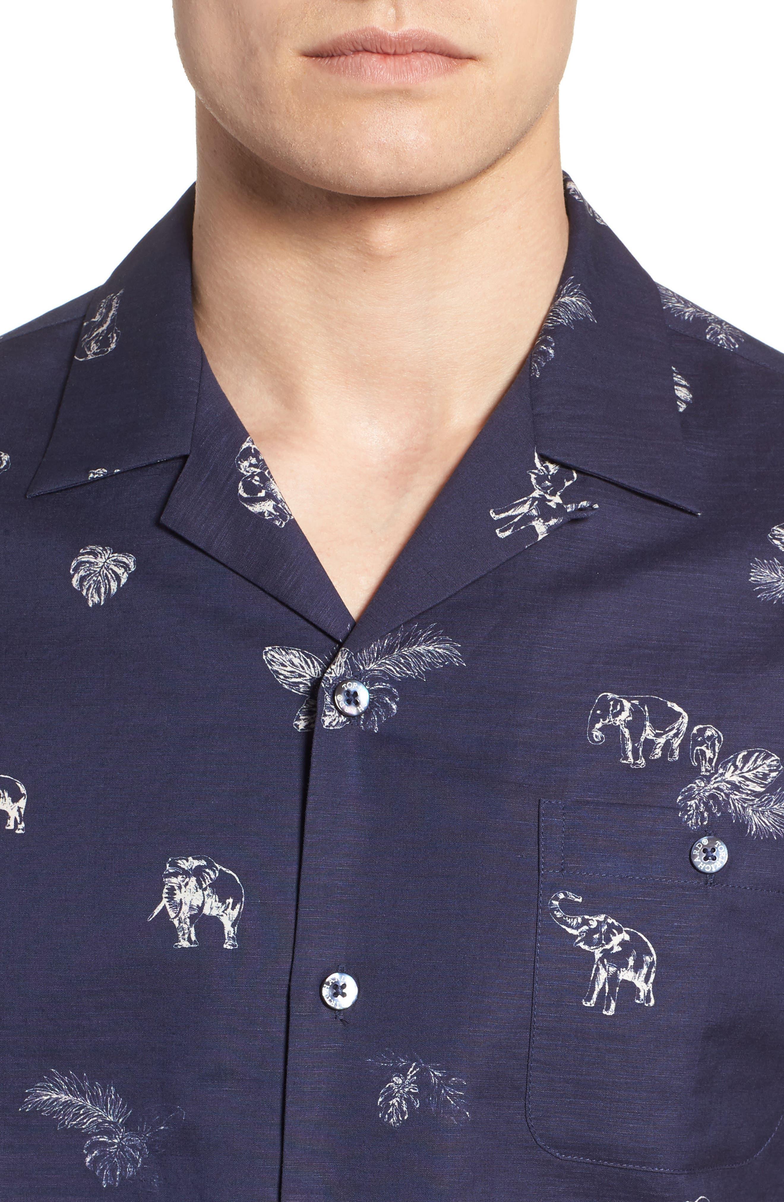 Sanctuary Trim Fit Linen & Cotton Camp Shirt,                             Alternate thumbnail 4, color,                             415
