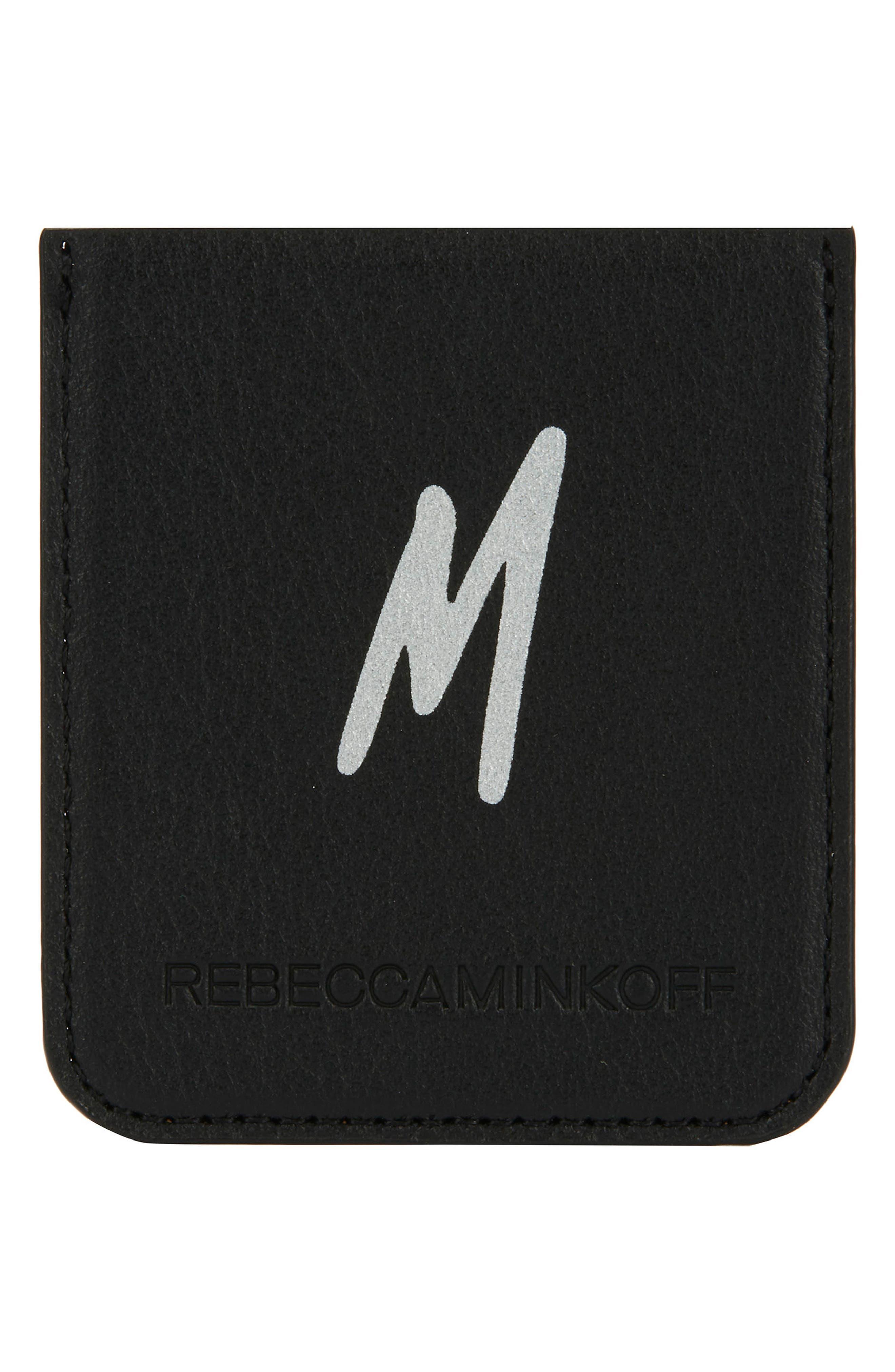 Initial Smartphone Sticker Pocket,                             Main thumbnail 1, color,                             M - BLACK/ SILVER FOIL