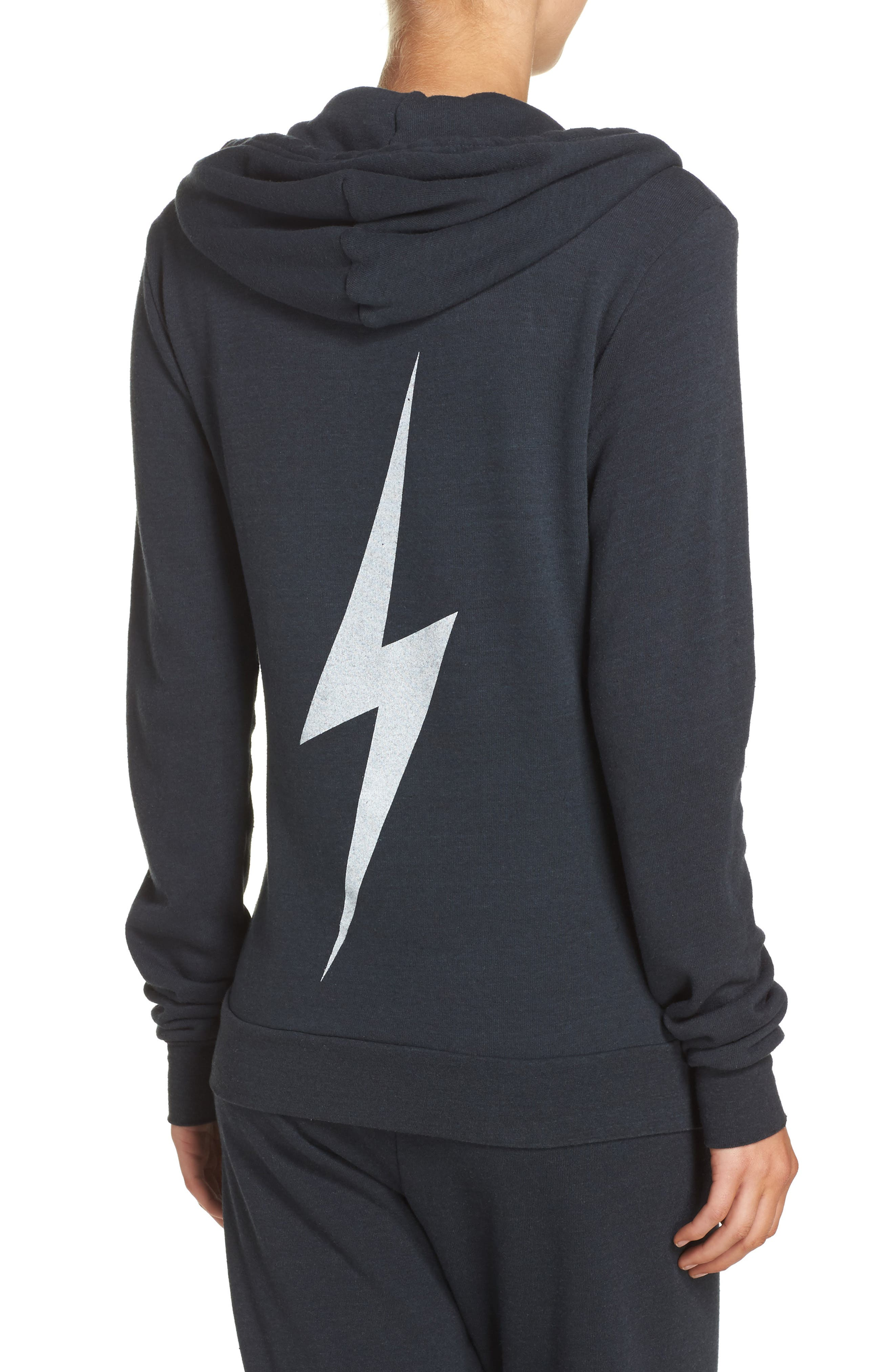 Bolt Zip Hoodie,                             Alternate thumbnail 2, color,                             CHARCOAL