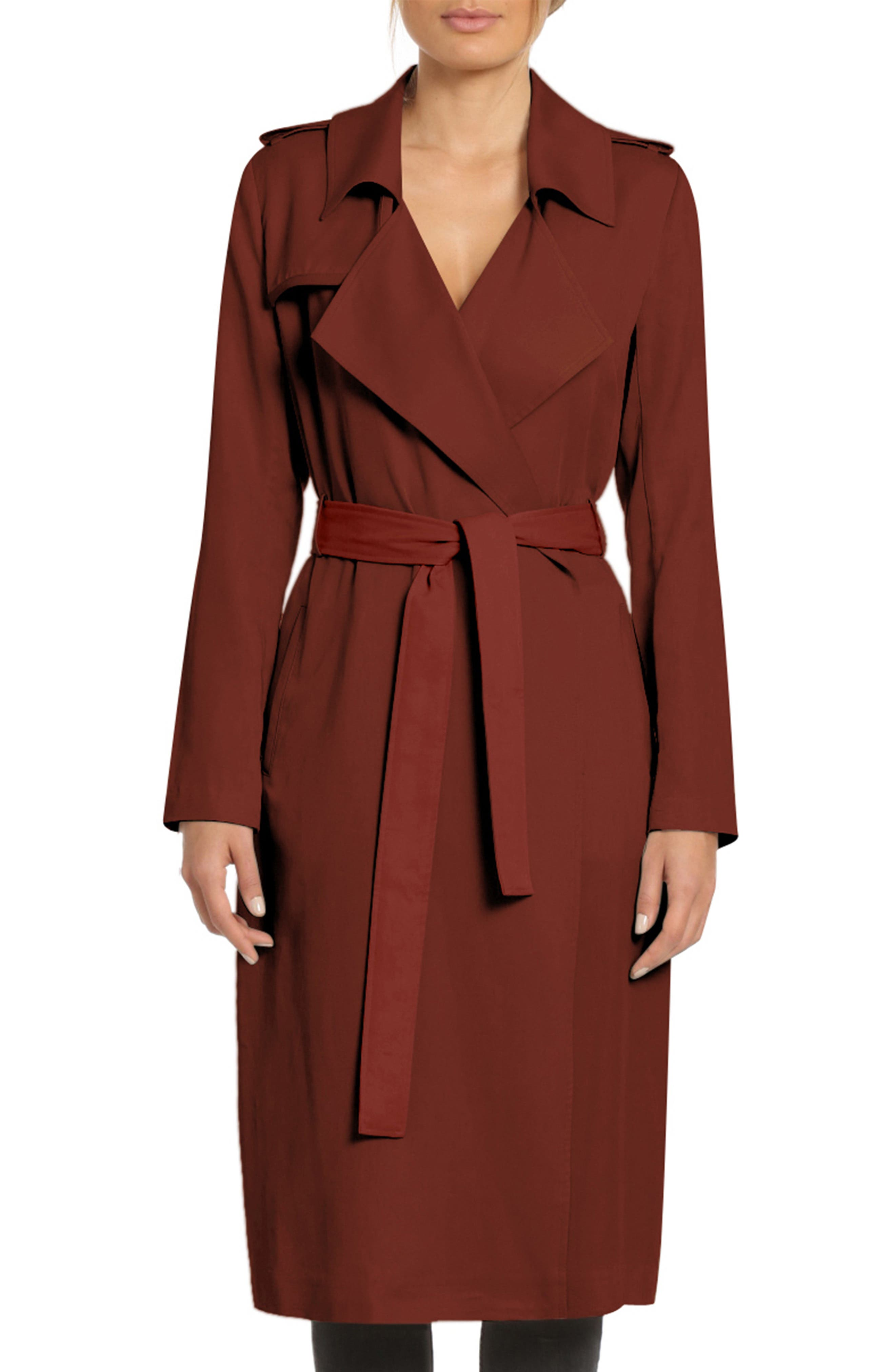Faux Leather Trim Long Trench Coat,                         Main,                         color, SAHARA