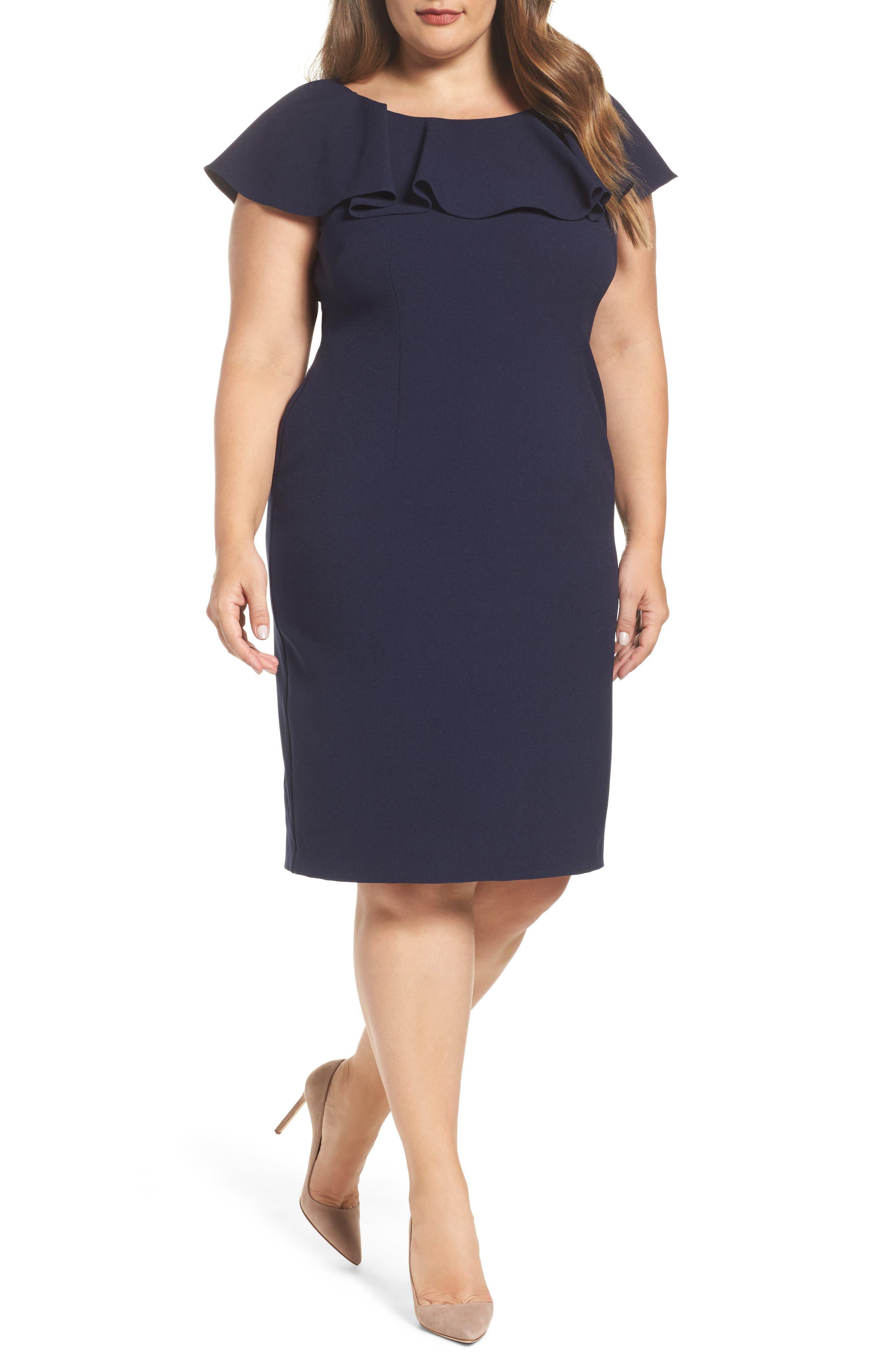 Ruffle Sheath Dress,                             Main thumbnail 1, color,                             410