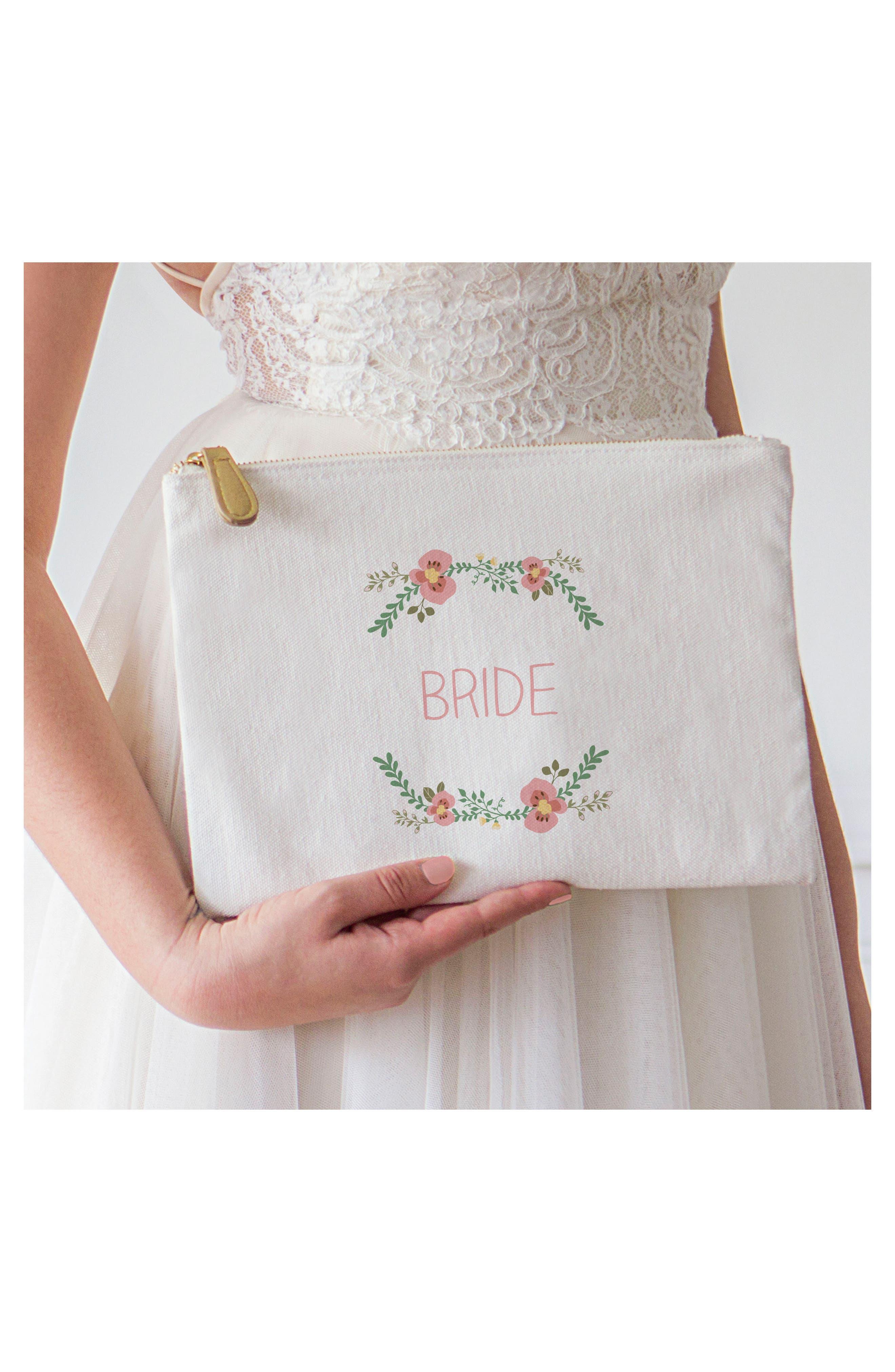 Bridesmaid Canvas Pouch,                             Alternate thumbnail 2, color,                             100