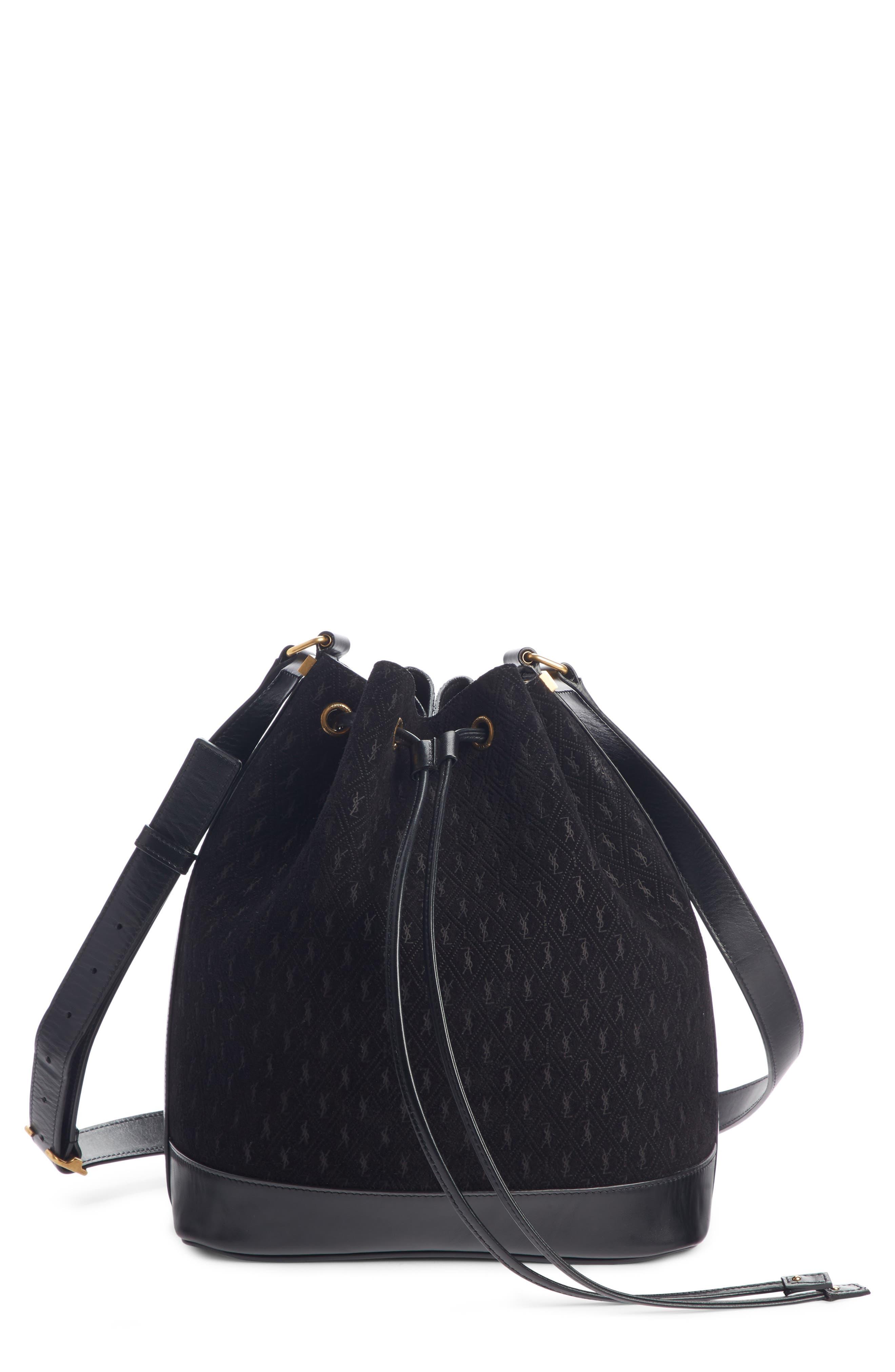 Monogramme Calfskin Suede Bucket Bag, Main, color, NOIR/ NOIR