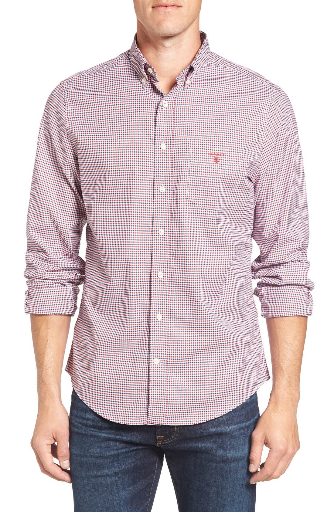 Gingham Fitted Sport Shirt,                             Main thumbnail 2, color,