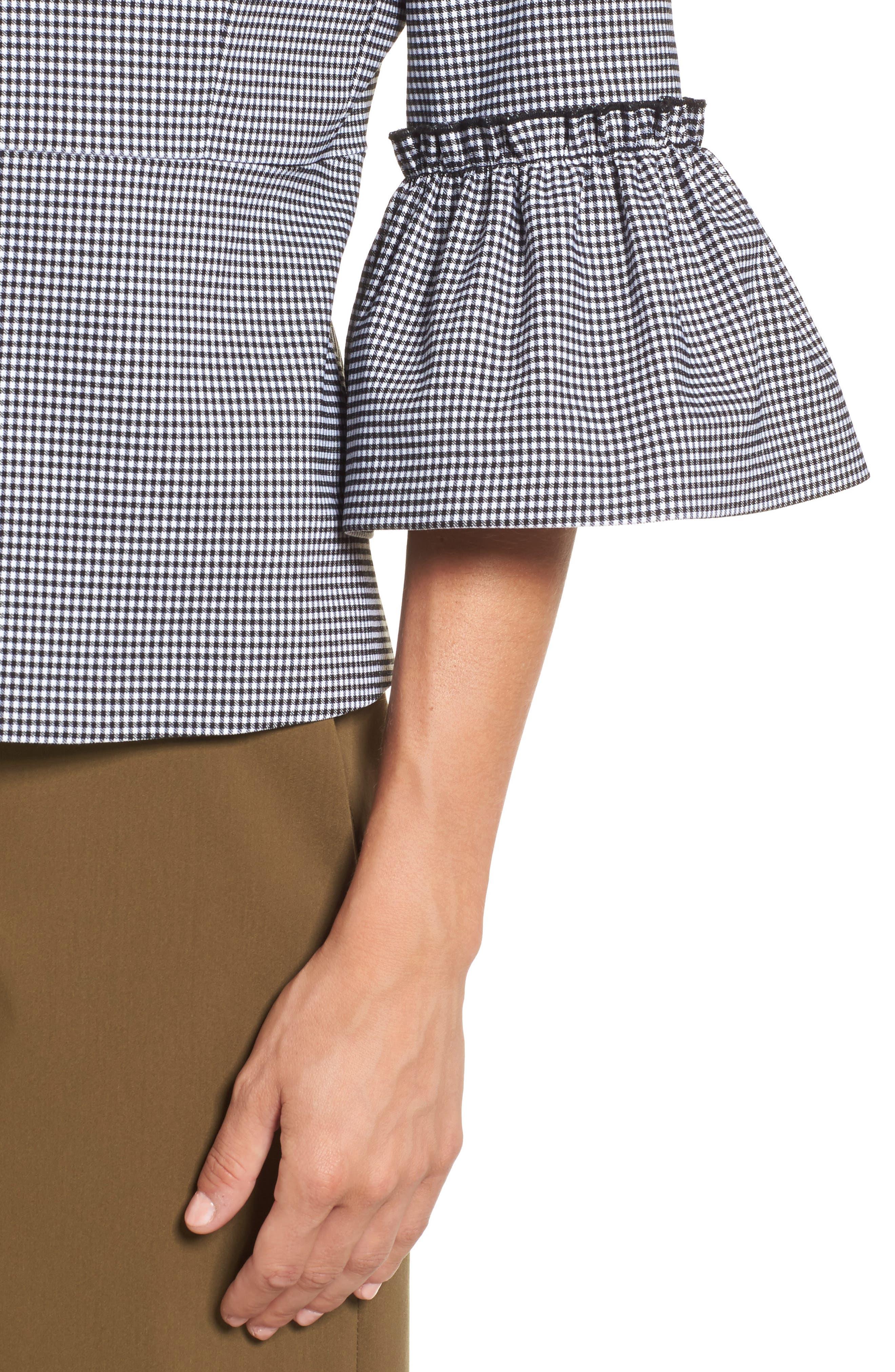 Ruffle Sleeve Open Jacket,                             Alternate thumbnail 4, color,                             001