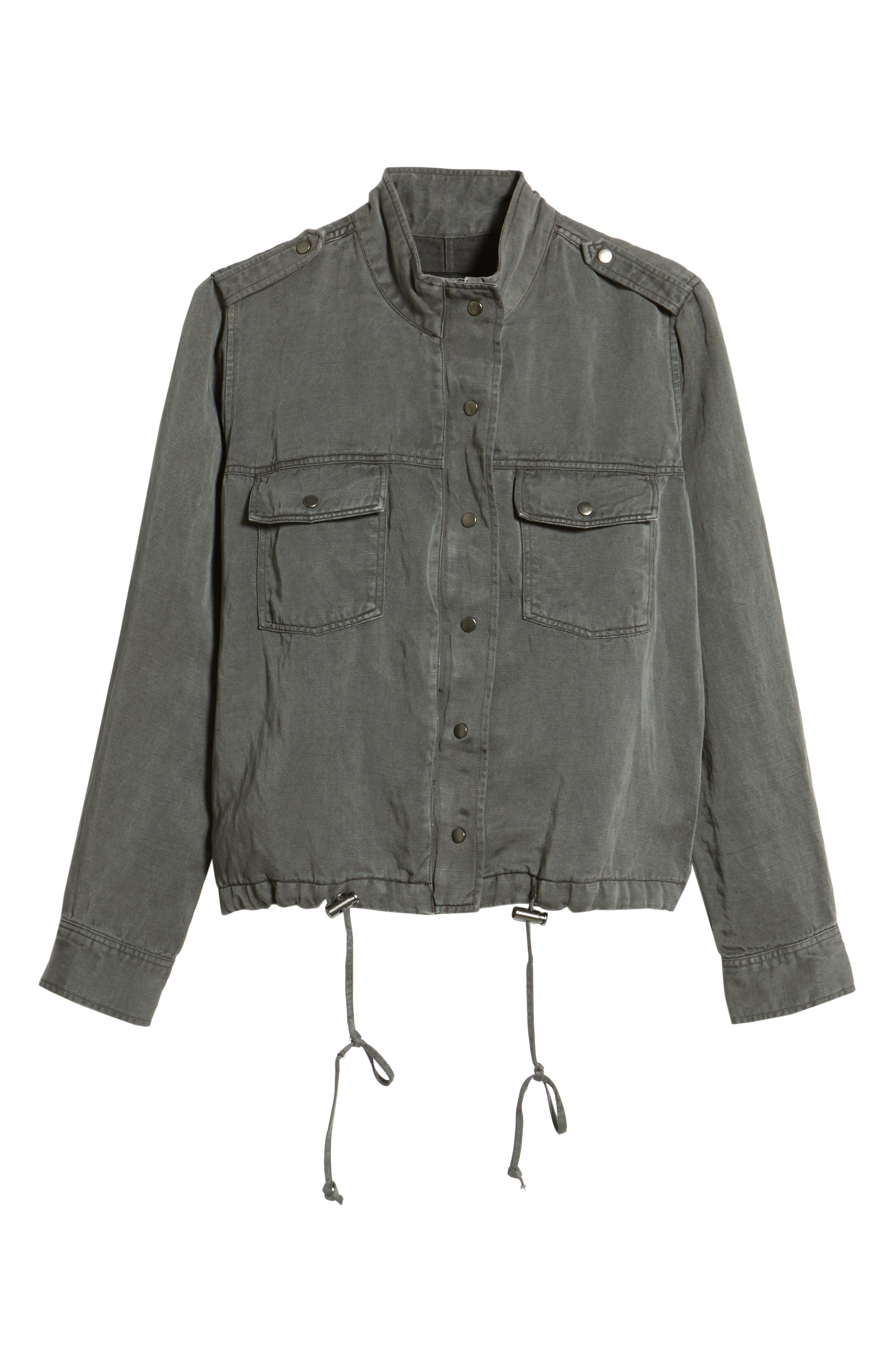 Collins Military Jacket,                             Alternate thumbnail 5, color,                             LIGHT CHARCOAL