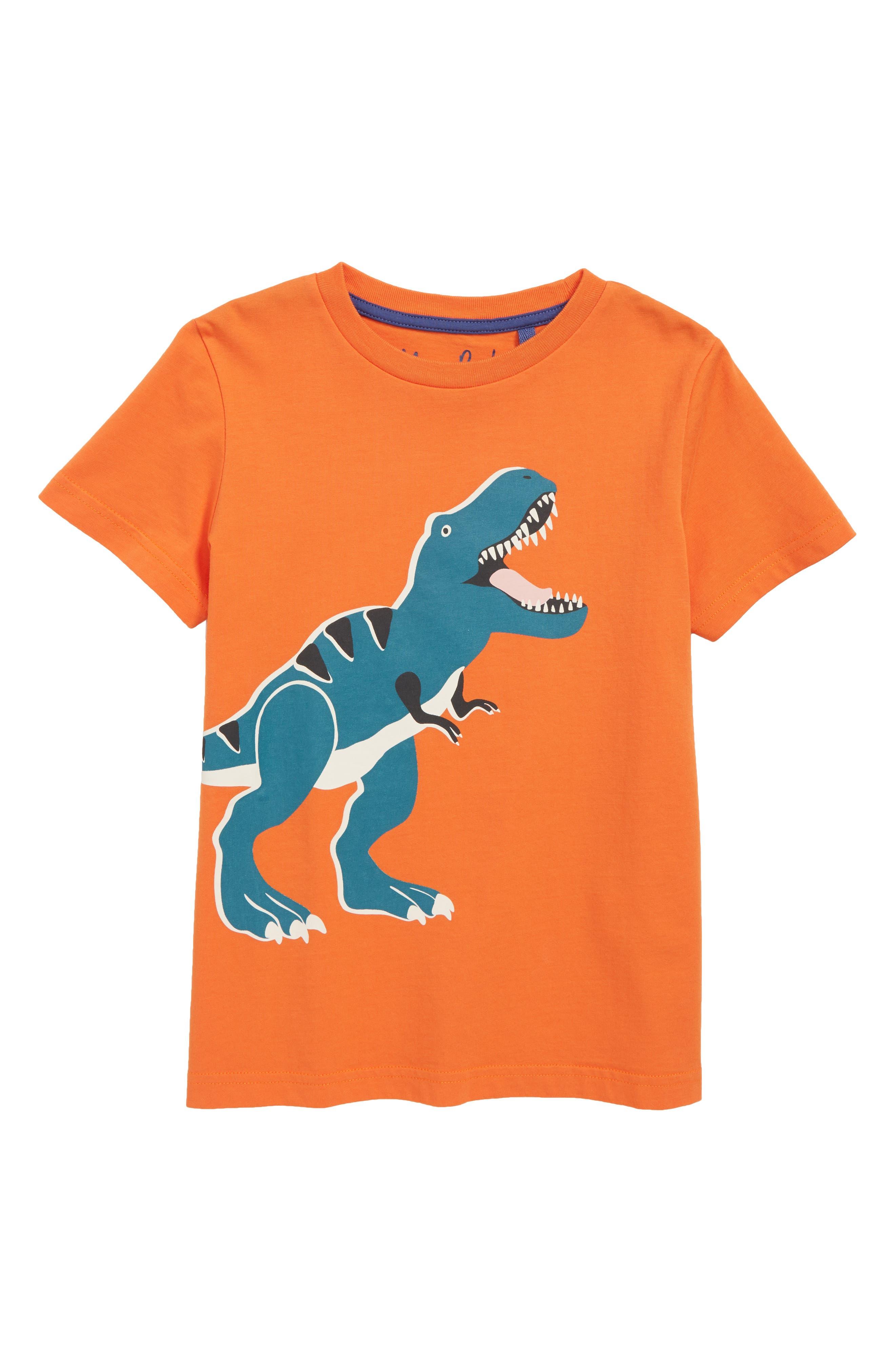 Glow in the Dark T-Rex T-Shirt,                         Main,                         color, MANGO FIZZ ORANGE