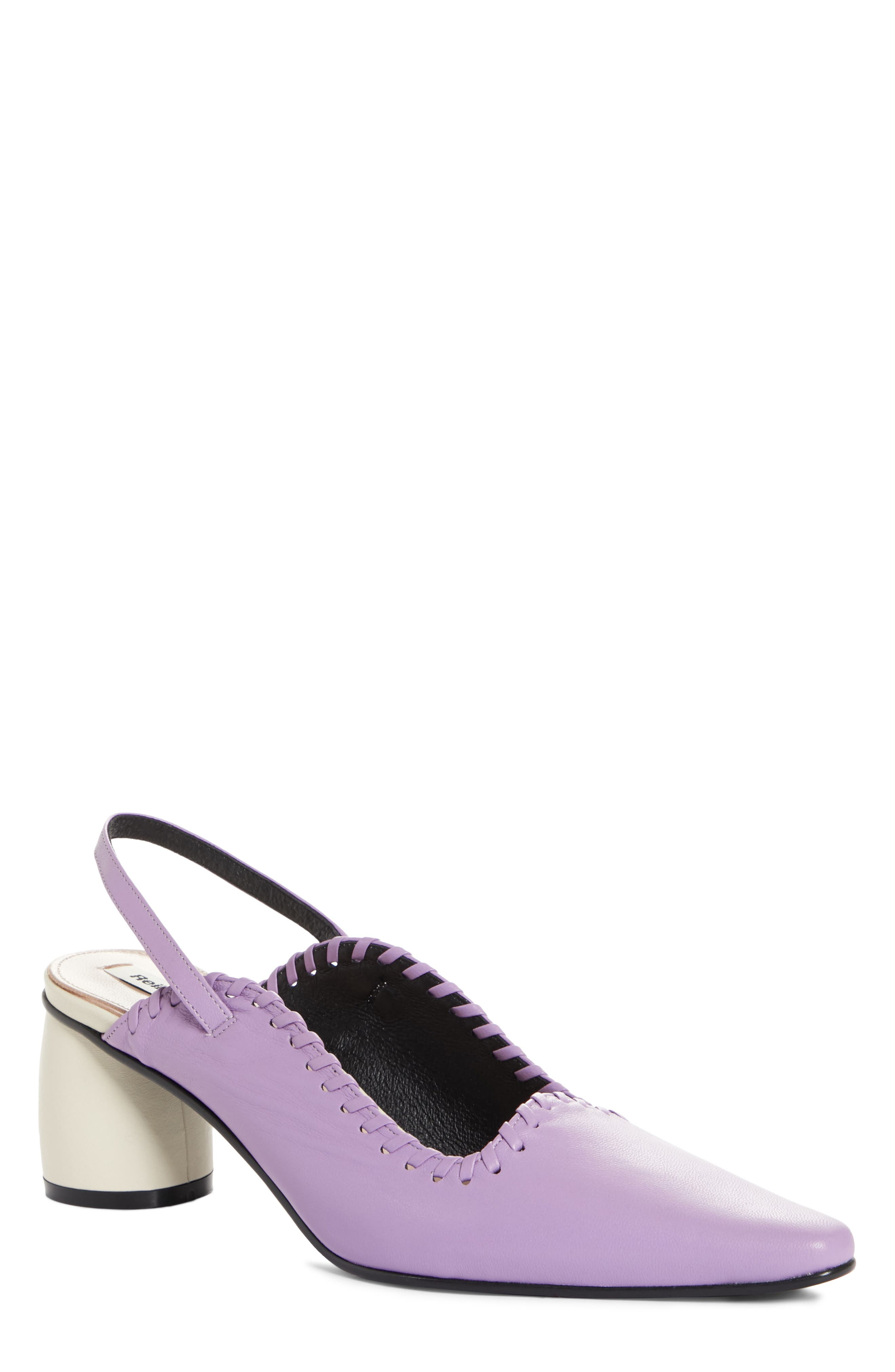 Curved Middle Slingback Pump,                         Main,                         color, PURPLE IVORY