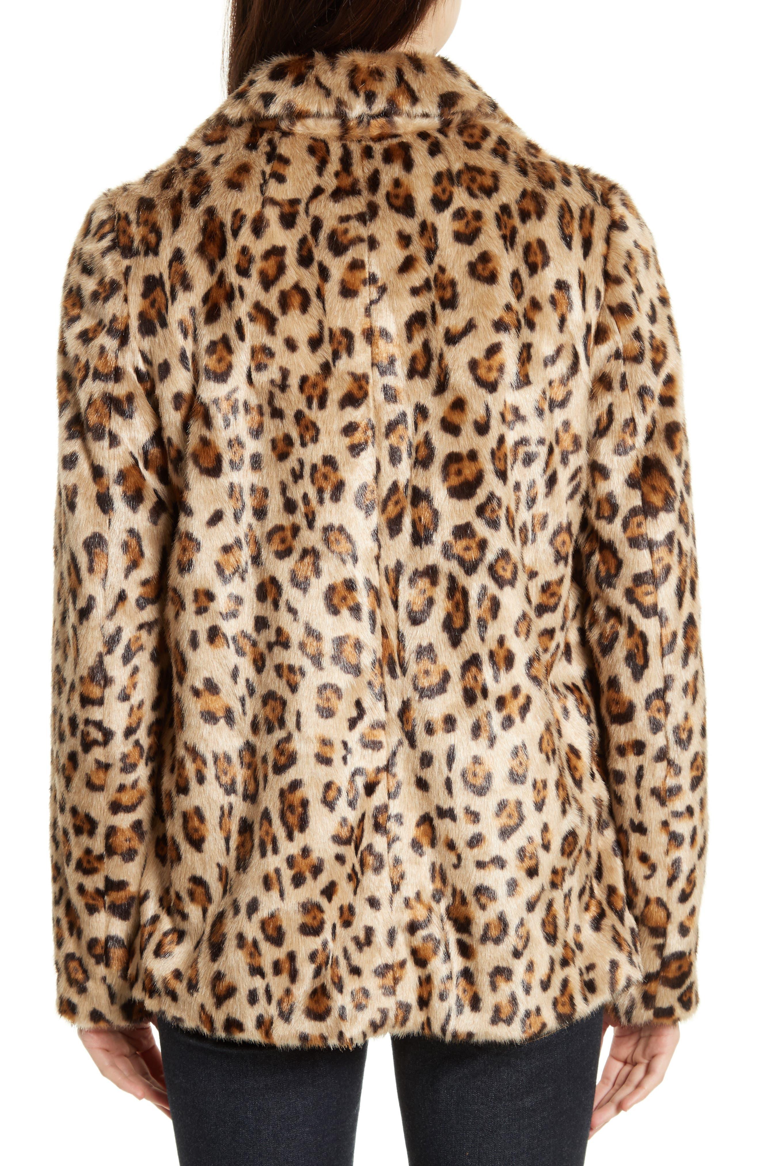 Clairene Leopard Print Faux Fur Coat,                             Alternate thumbnail 2, color,