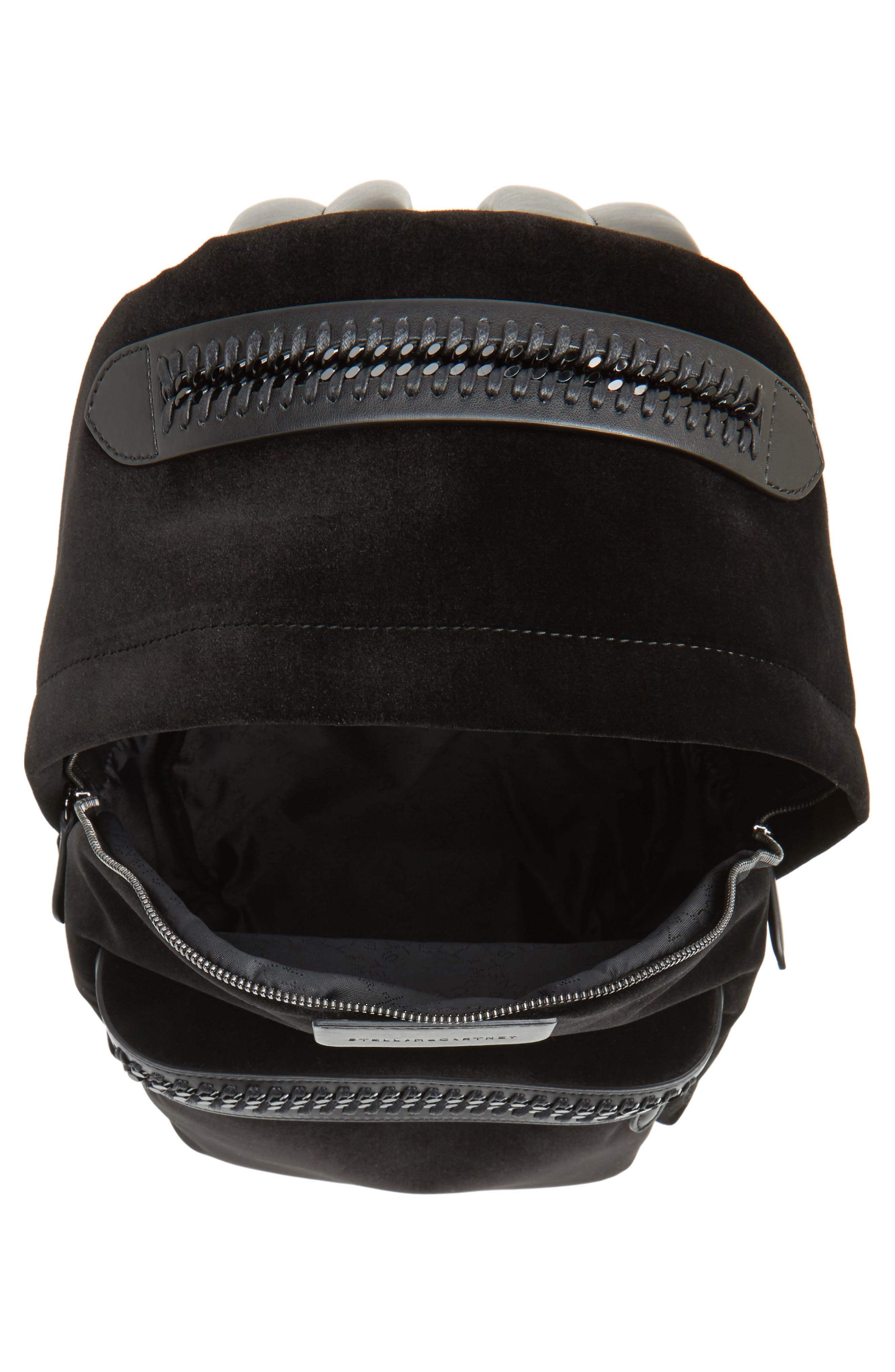 Medium Falabella Velvet Backpack,                             Alternate thumbnail 4, color,                             001