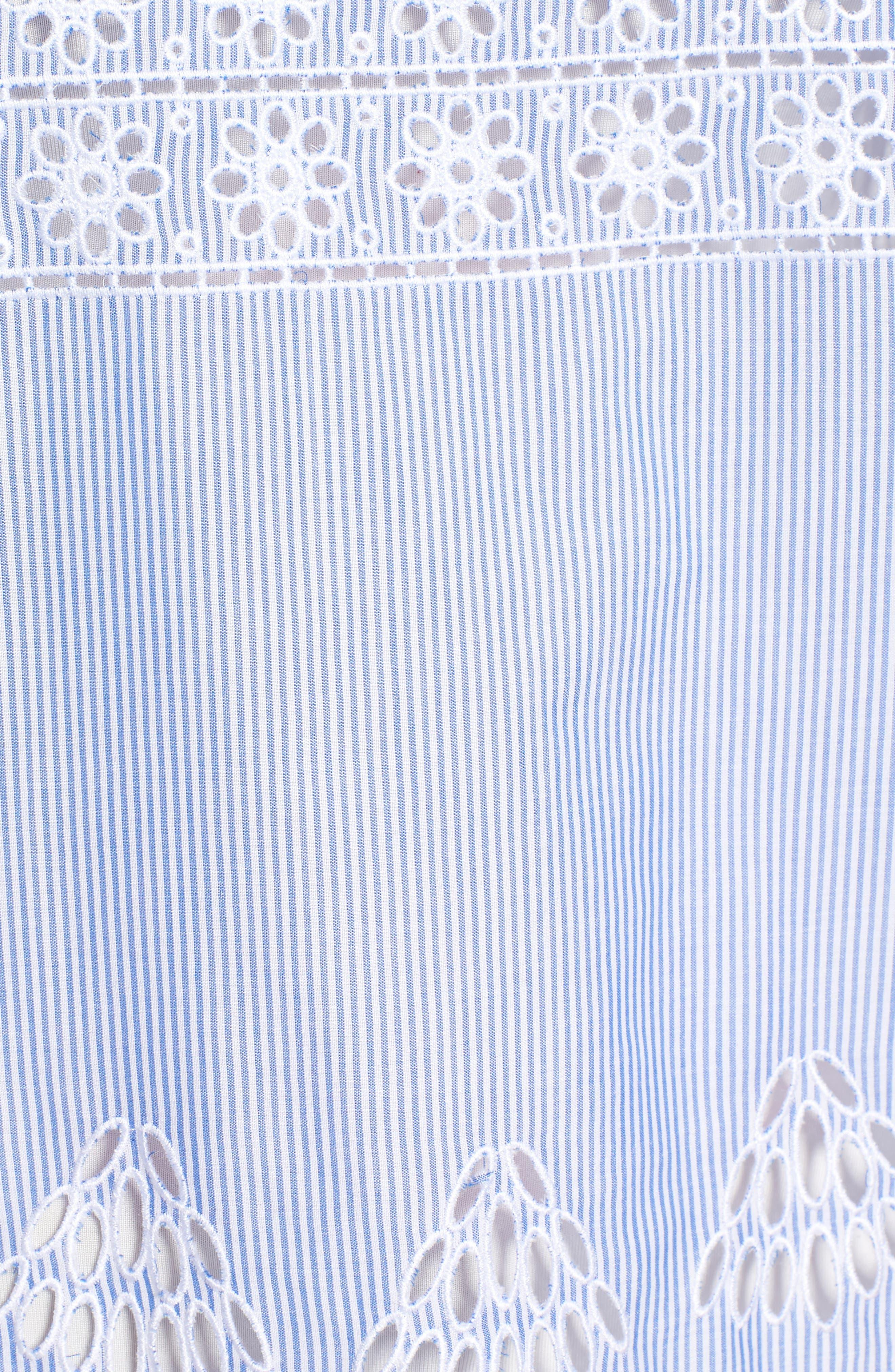 Short Sleeve Eyelet Top,                             Alternate thumbnail 5, color,                             BLUE CANAL- WHITE STRIPE