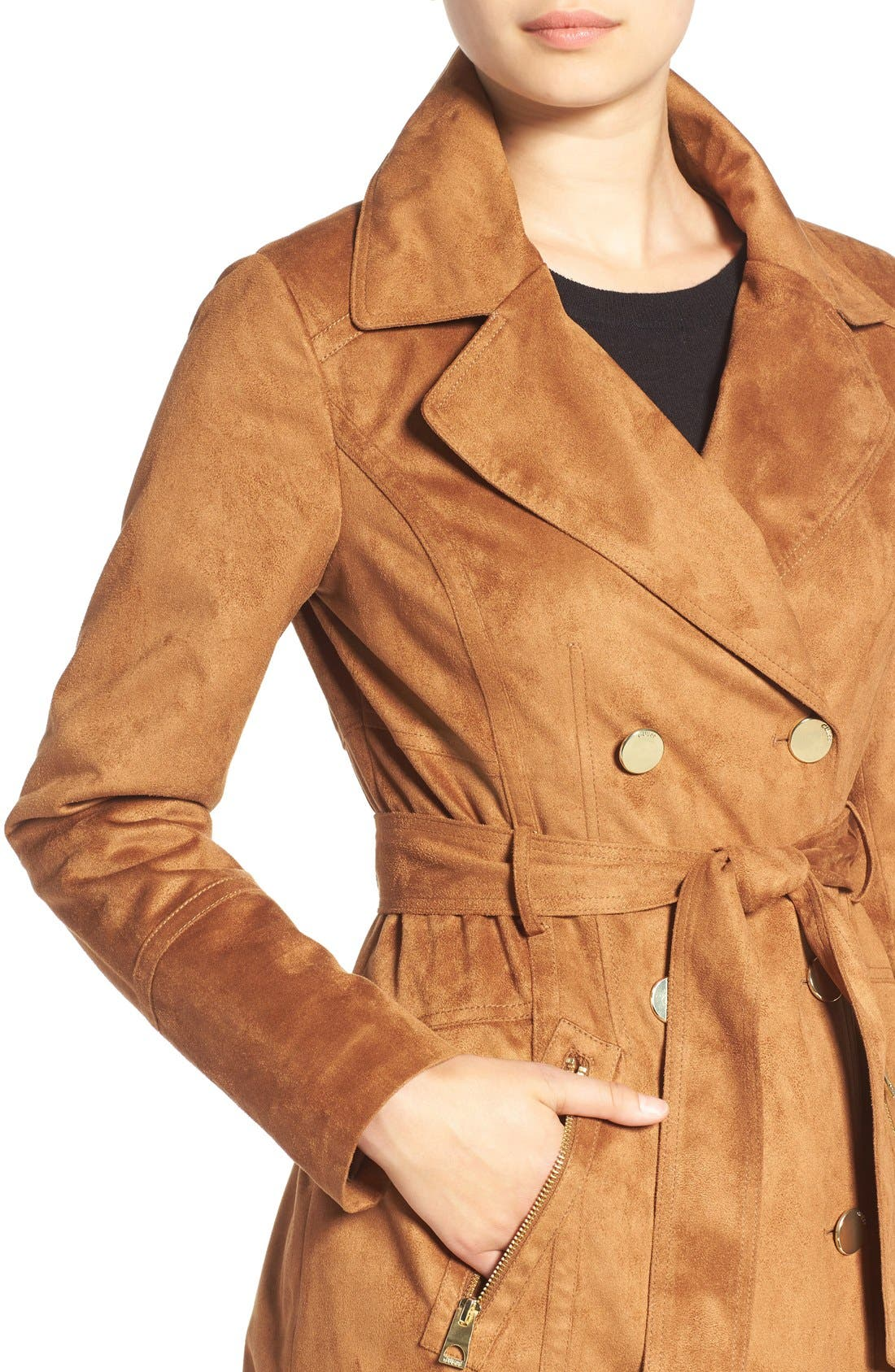Faux Suede Double Breasted Trench Coat,                             Alternate thumbnail 4, color,                             240