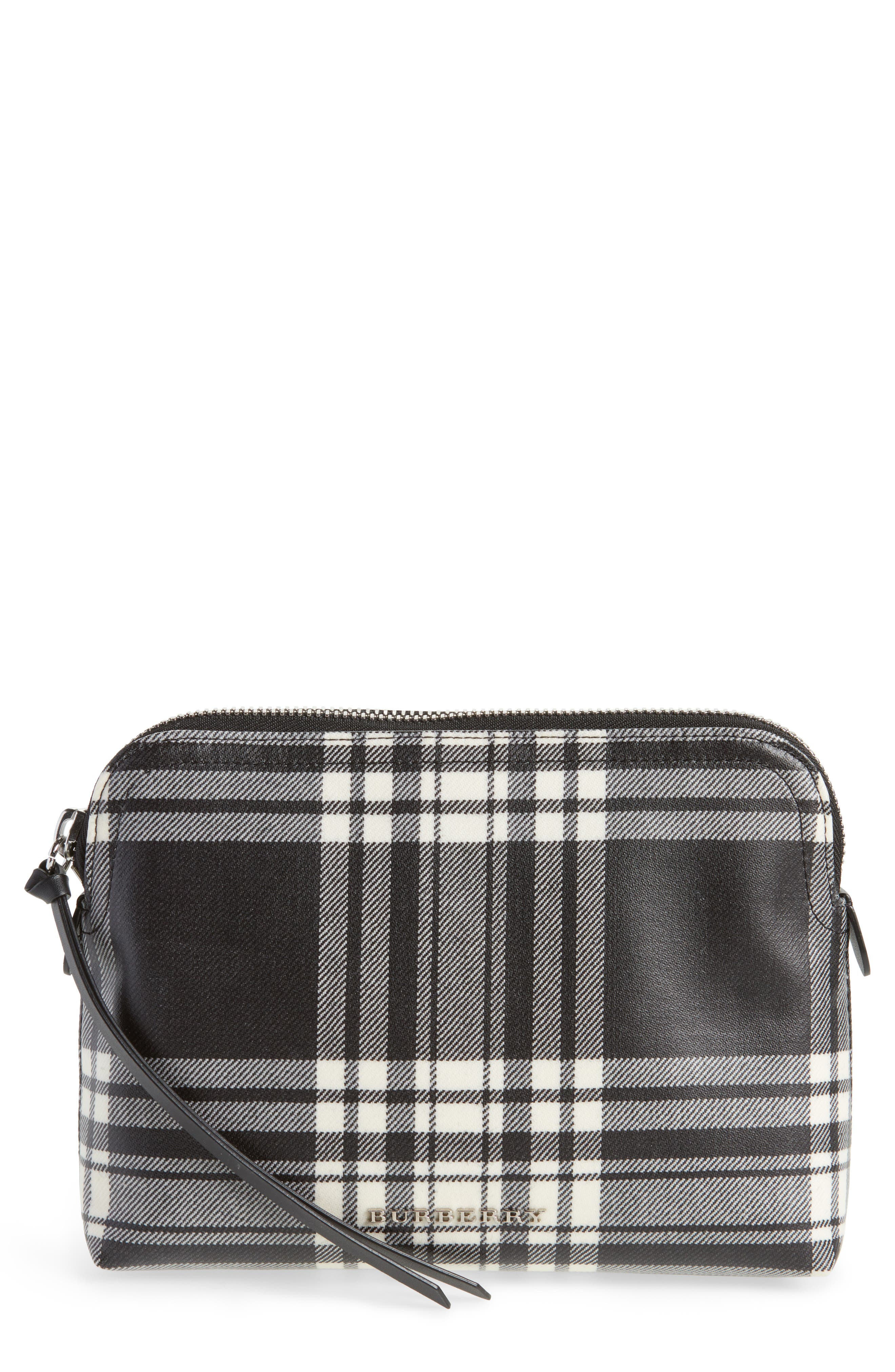 Laminated Tartan Pouch,                         Main,                         color, 001