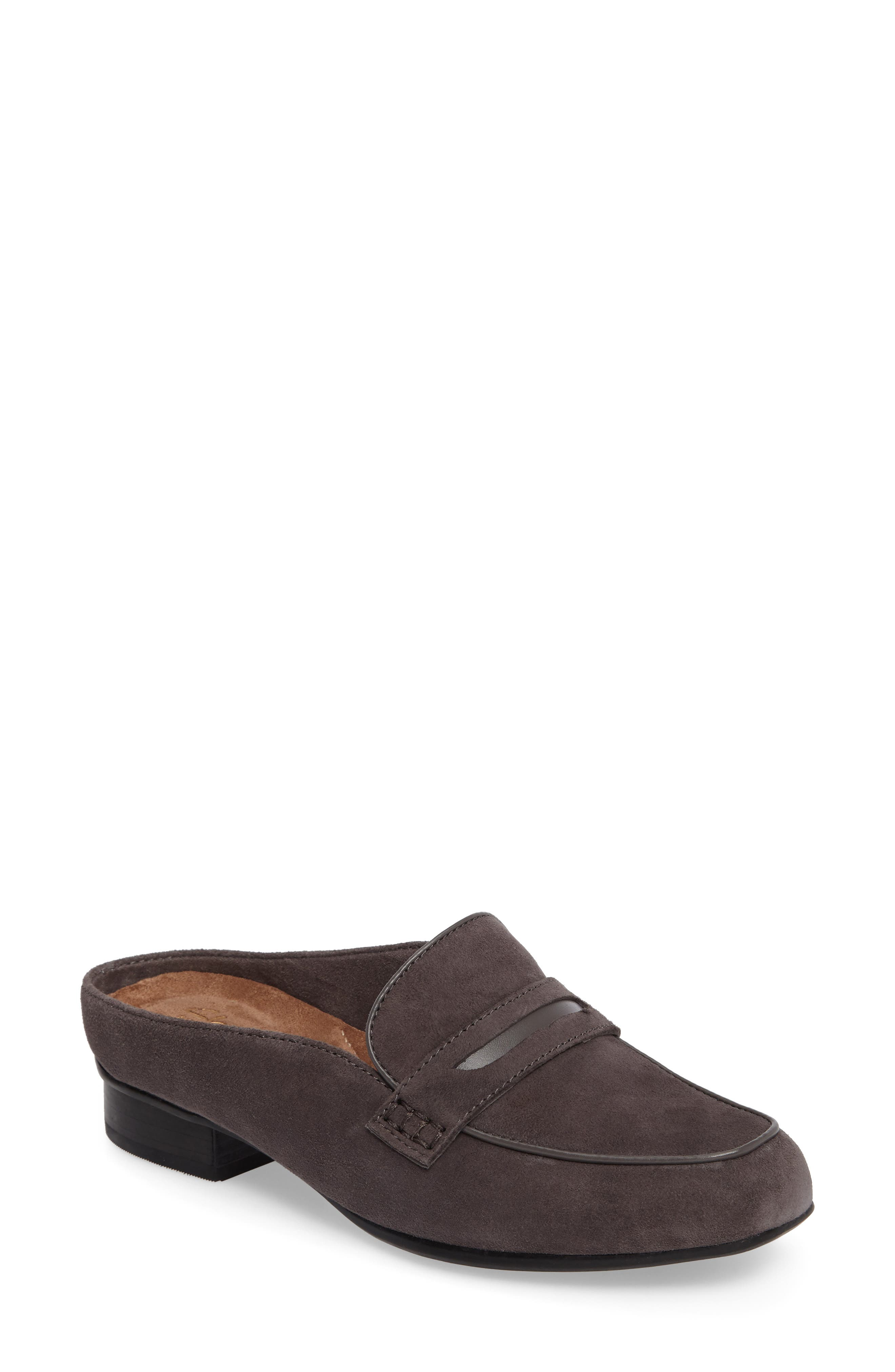 Keesha Donna Loafer Mule,                             Main thumbnail 1, color,                             DARK GREY SUEDE