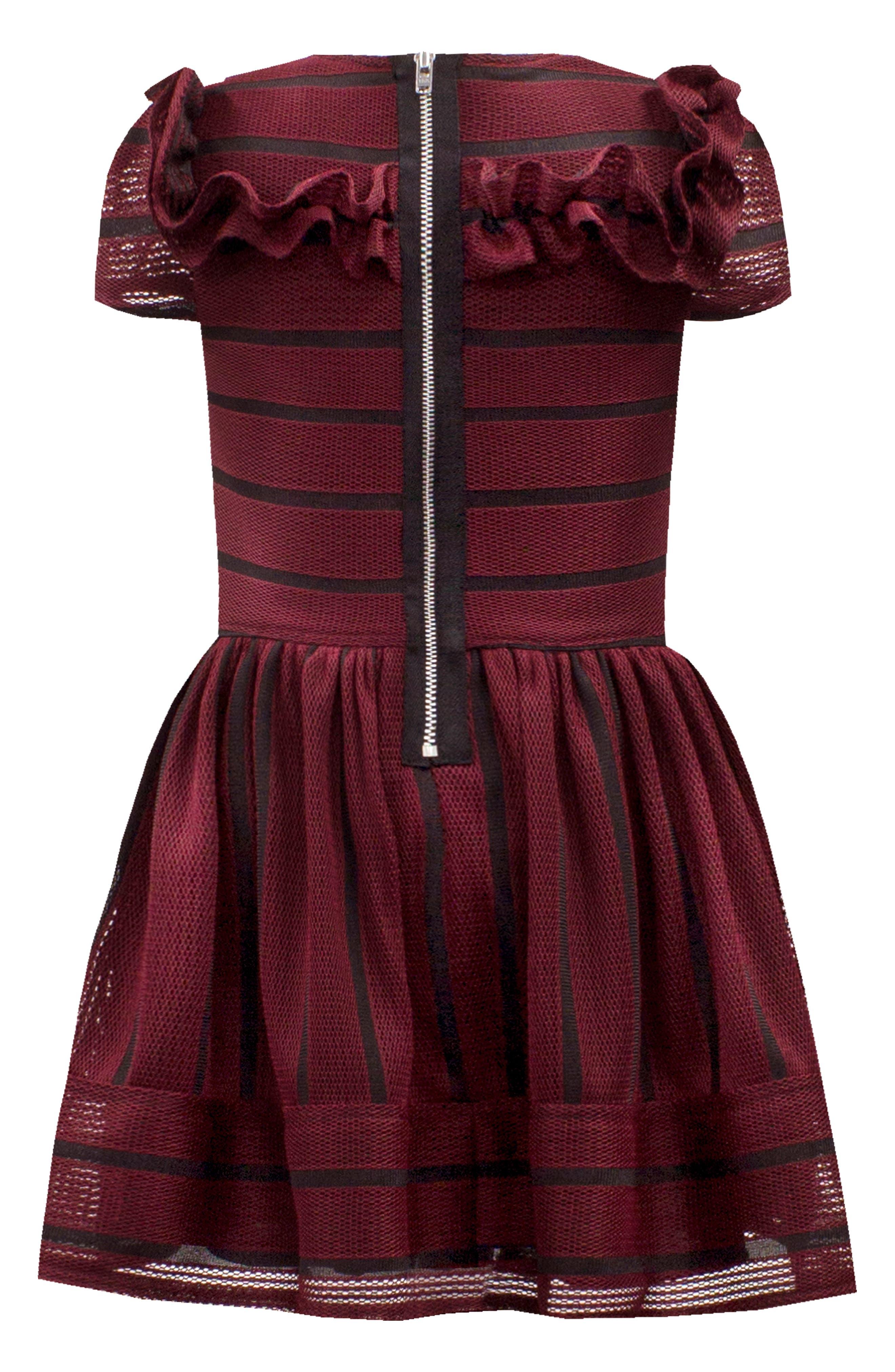 DAVID CHARLES,                             Stripe Techno Frill Fit & Flare Dress,                             Alternate thumbnail 2, color,                             WINE