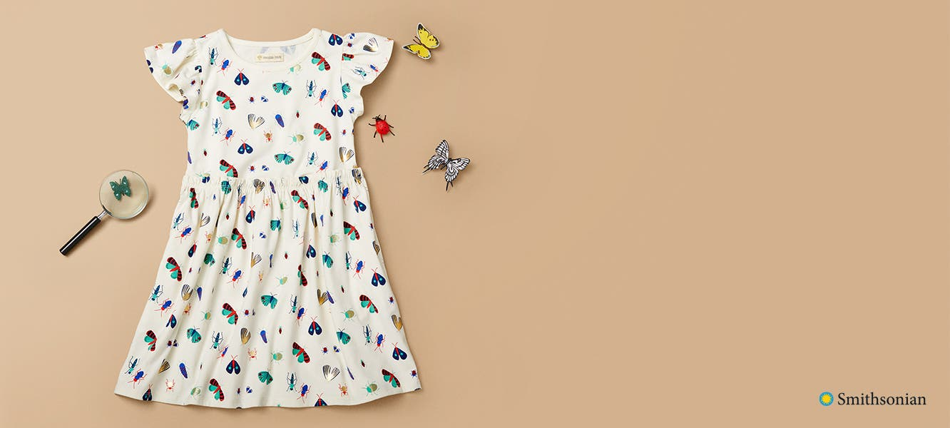 Kids' dress with a butterfly and bug print.