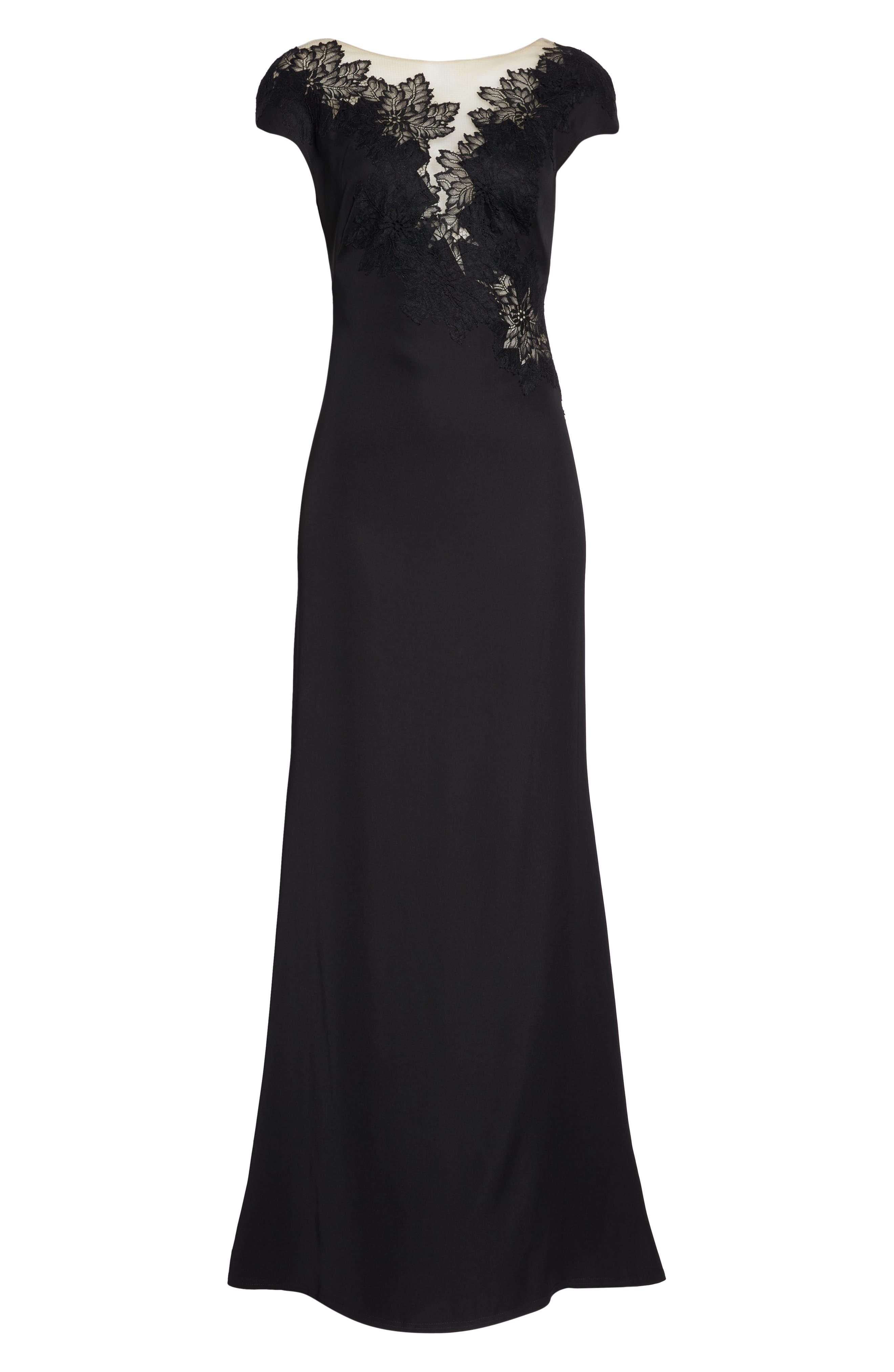 Lace & Crepe Gown,                             Alternate thumbnail 6, color,                             001
