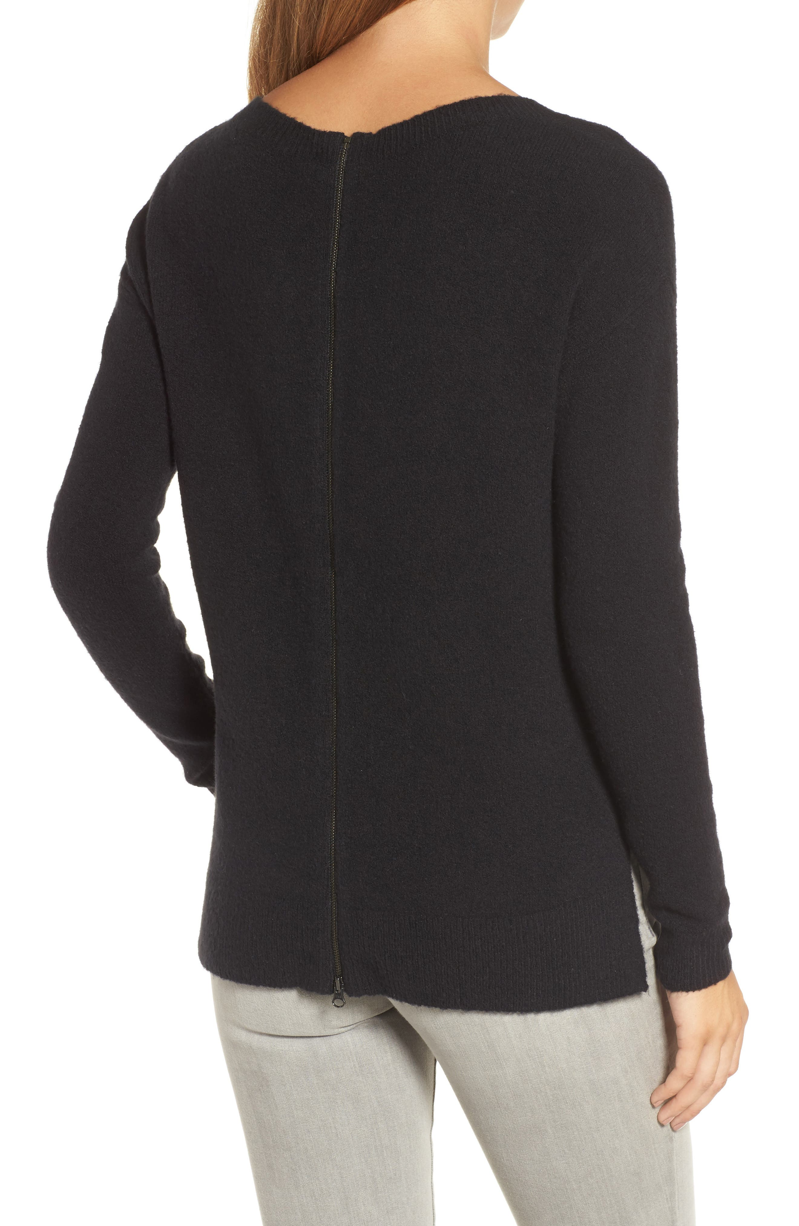 Back Zip High/Low Sweater,                             Alternate thumbnail 2, color,                             001