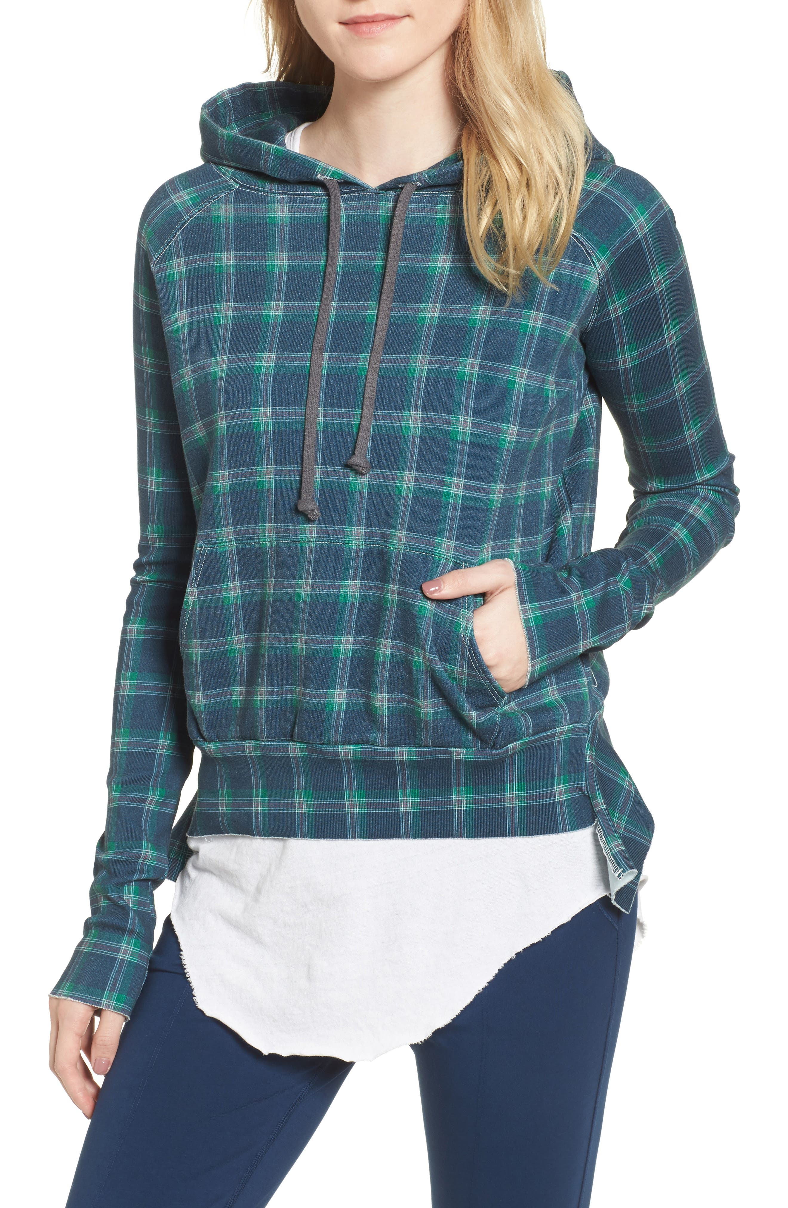 Plaid Pullover Hoodie,                         Main,                         color, 400