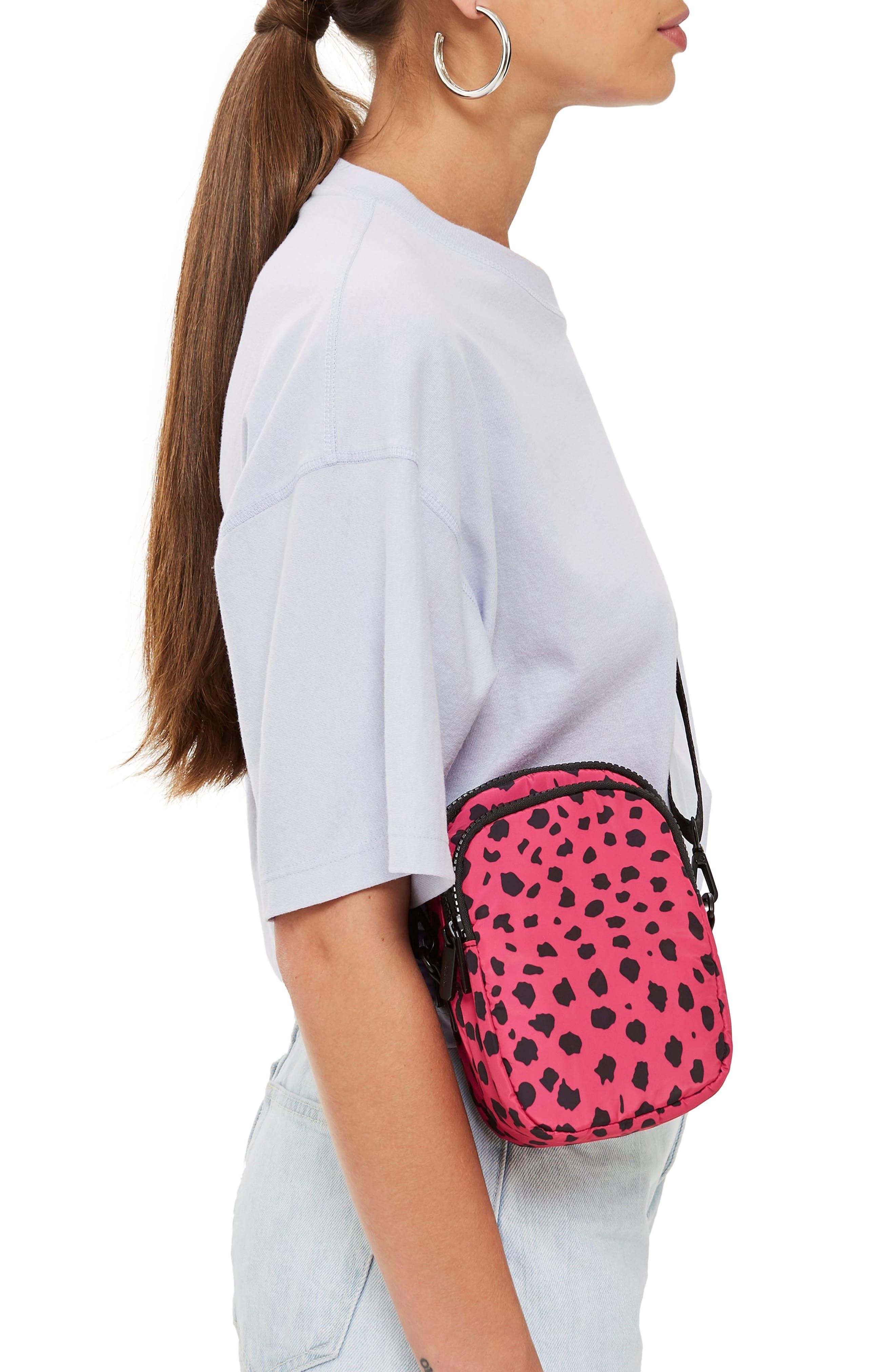 Leopard Print Nylon Shoulder Bag,                             Alternate thumbnail 2, color,                             650