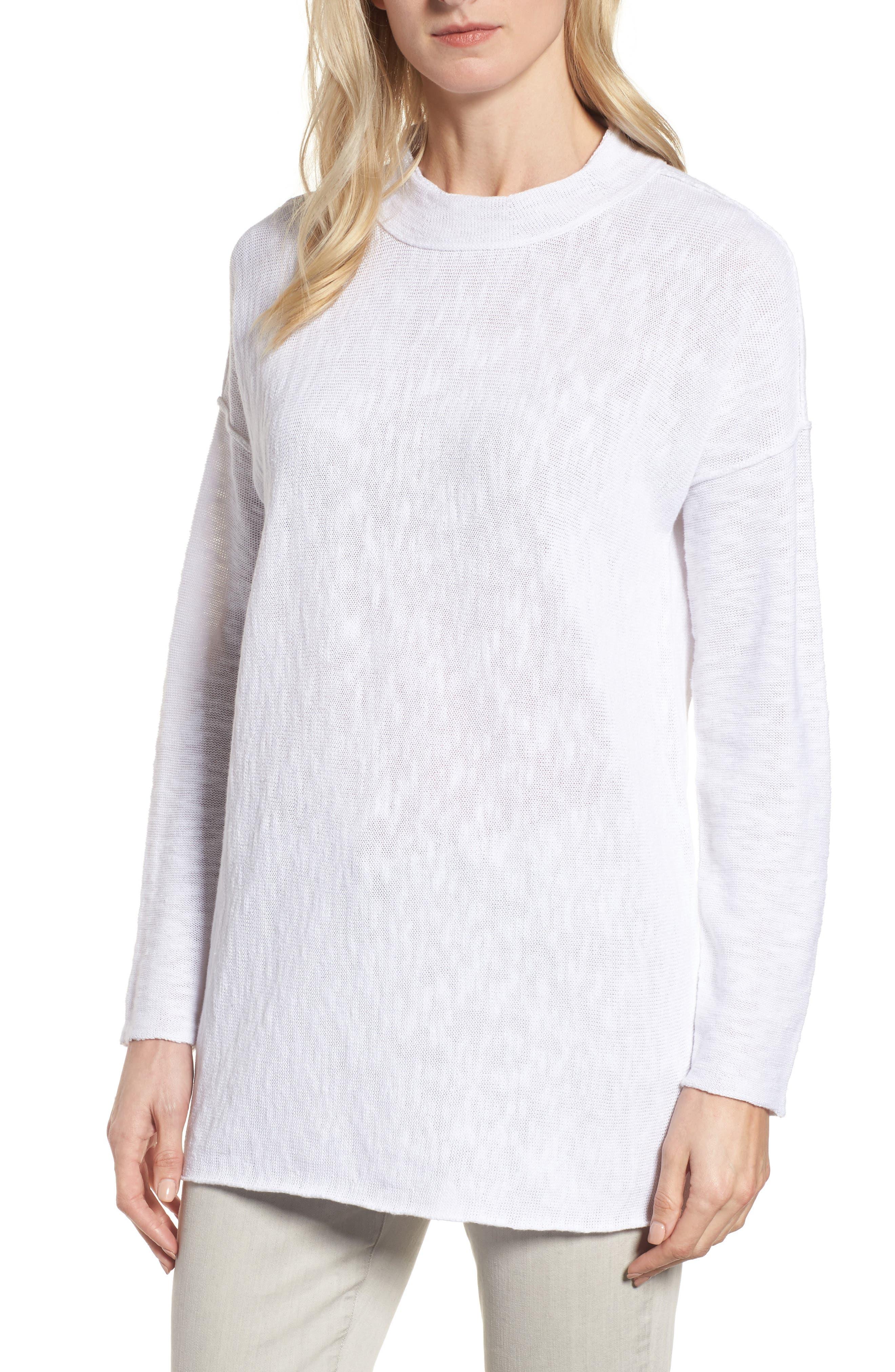 Organic Linen & Cotton Sweater,                         Main,                         color, 100
