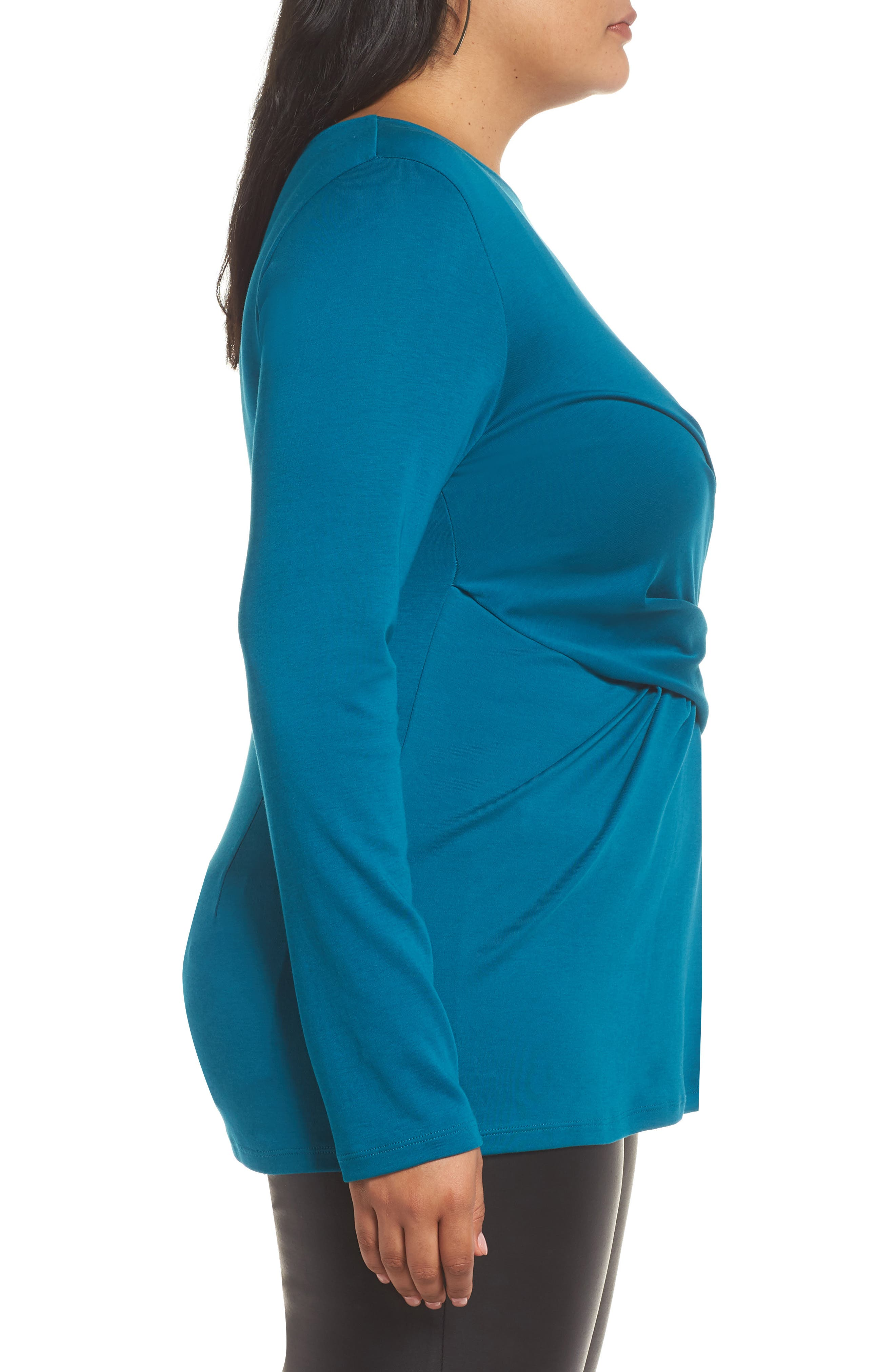 Drape Front Ponte Top,                             Alternate thumbnail 3, color,                             TEAL GLOSS