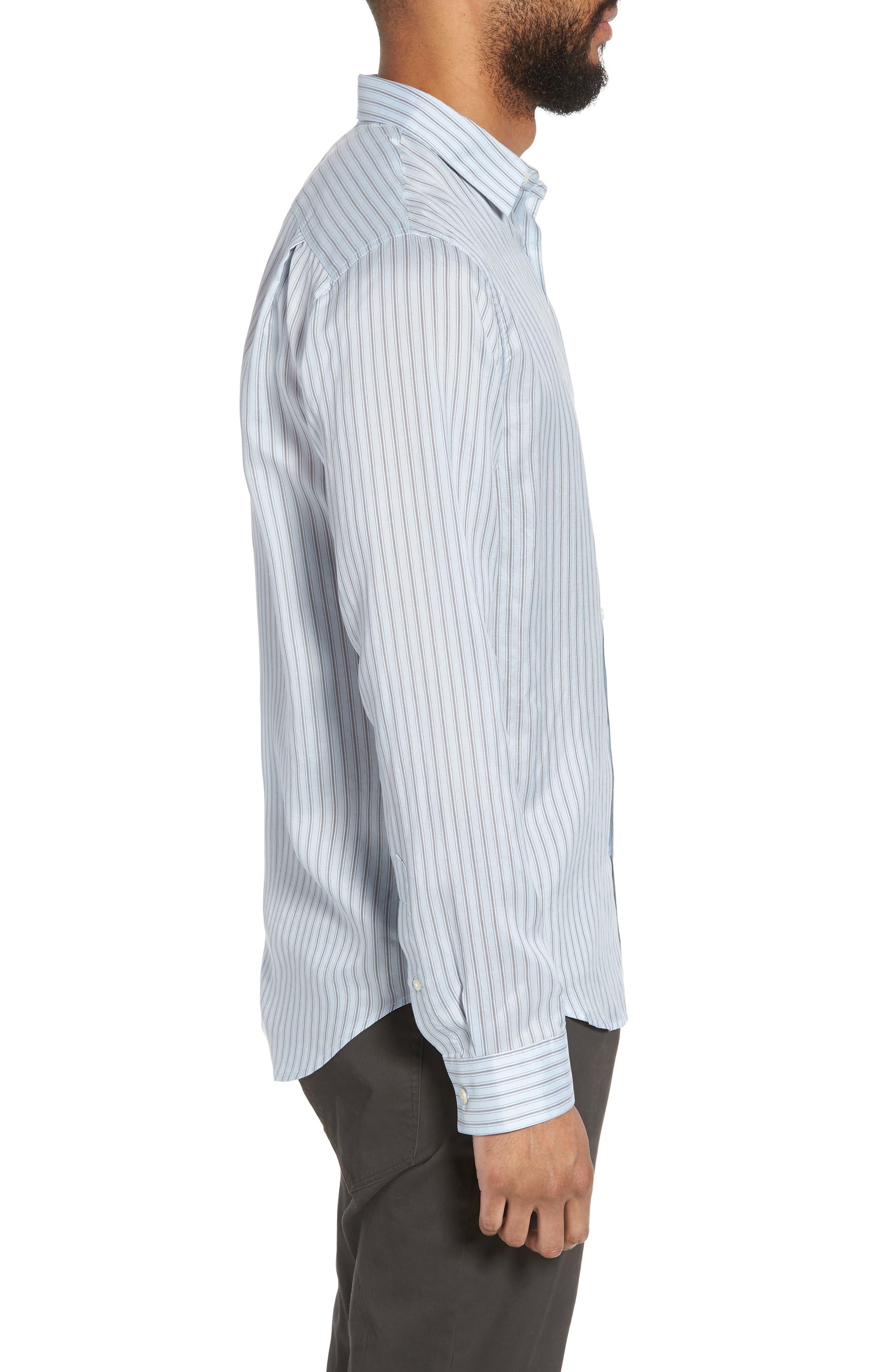 Slim Fit Stretch Stripe Sport Shirt,                             Alternate thumbnail 3, color,                             461