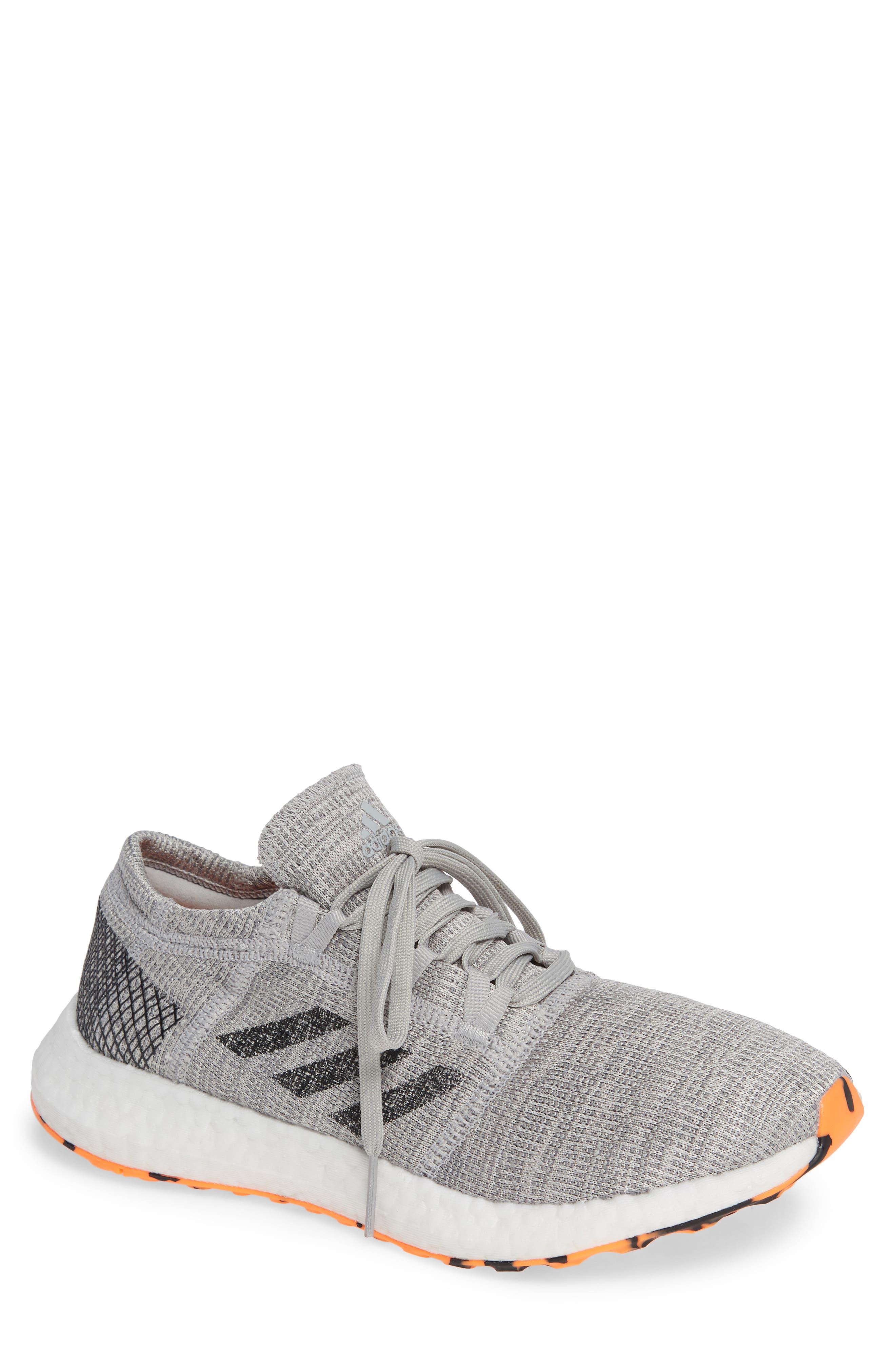PureBoost GO Running Shoe,                         Main,                         color, GREY/ BLACK/ ORANGE