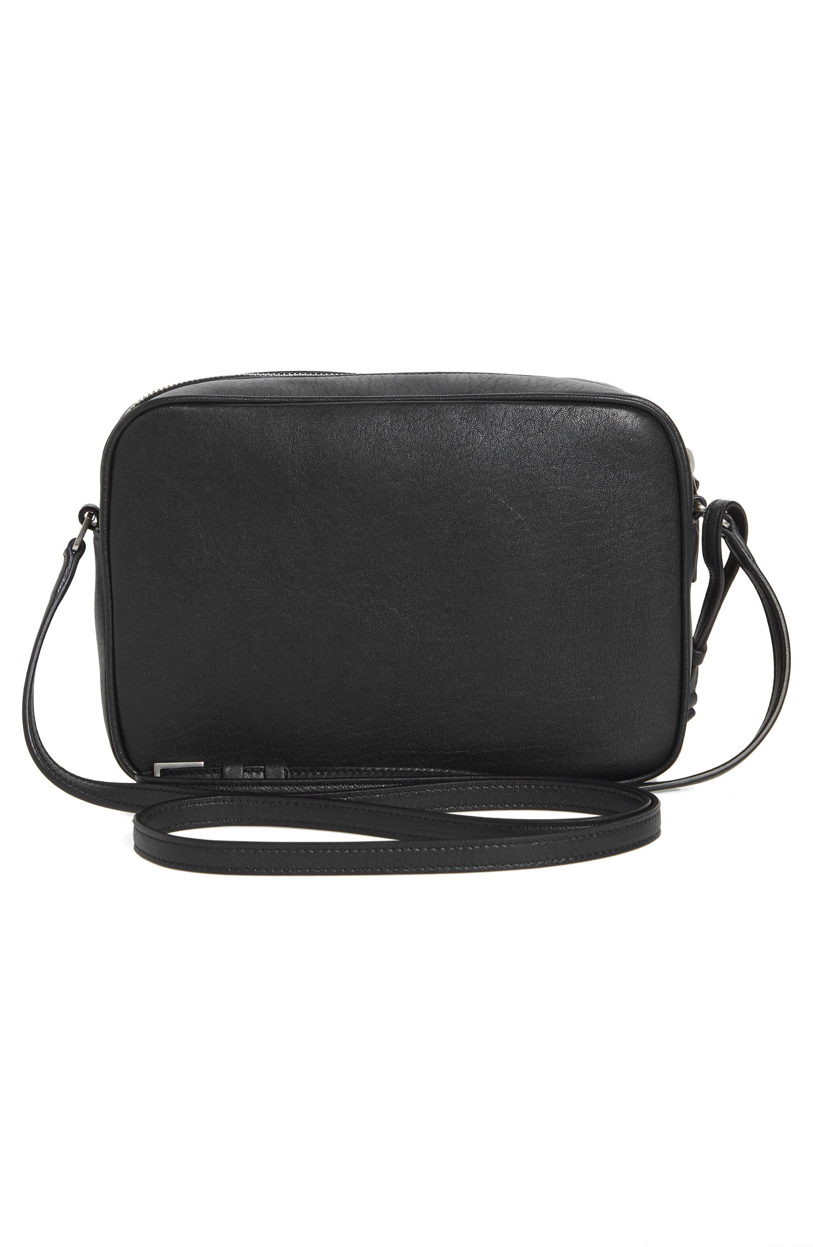 Small Mono Leather Camera Bag,                             Alternate thumbnail 2, color,                             NERO