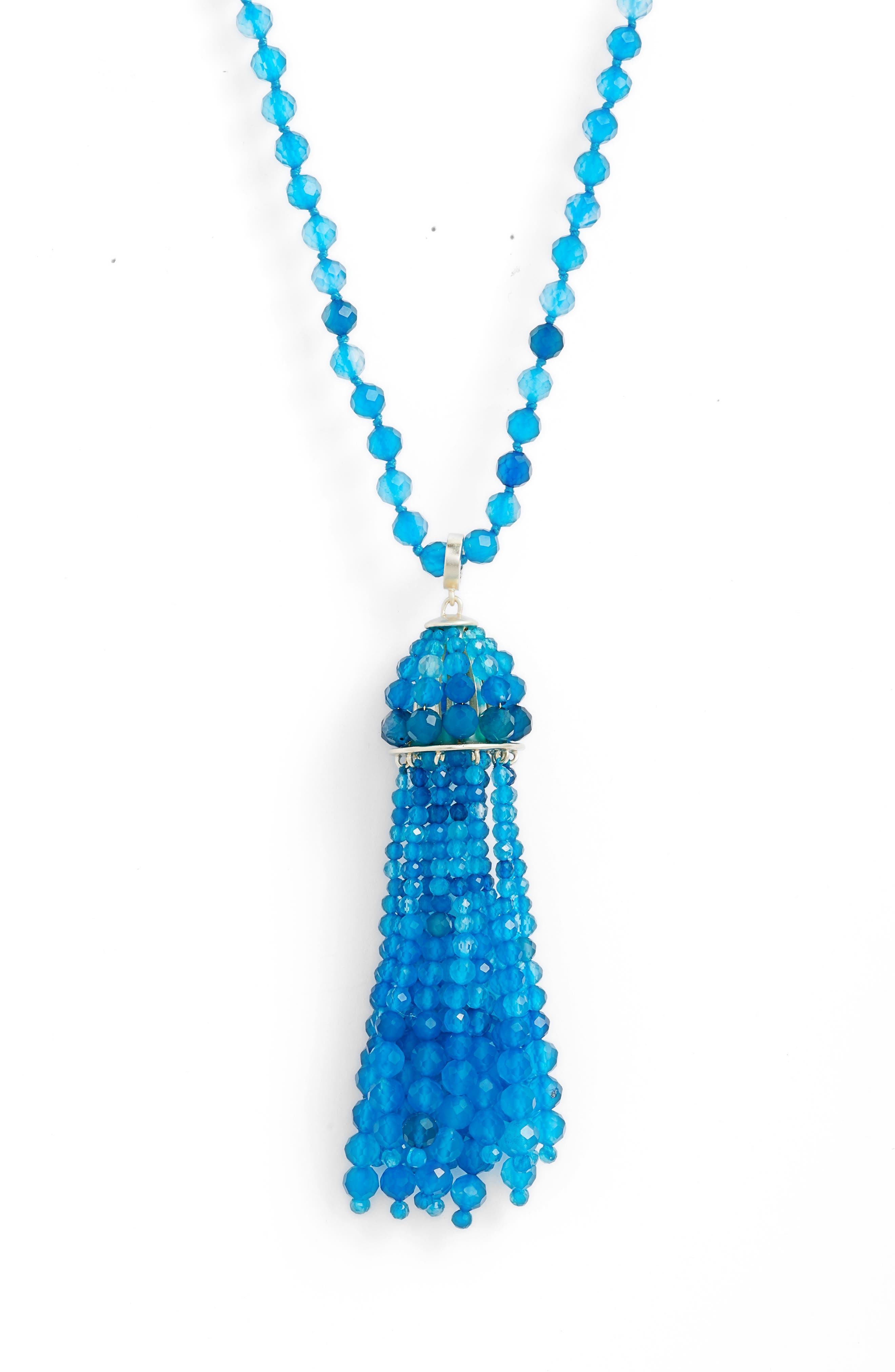 Sylvia Necklace,                             Alternate thumbnail 2, color,                             TEAL UNBANDED AGATE/ GOLD