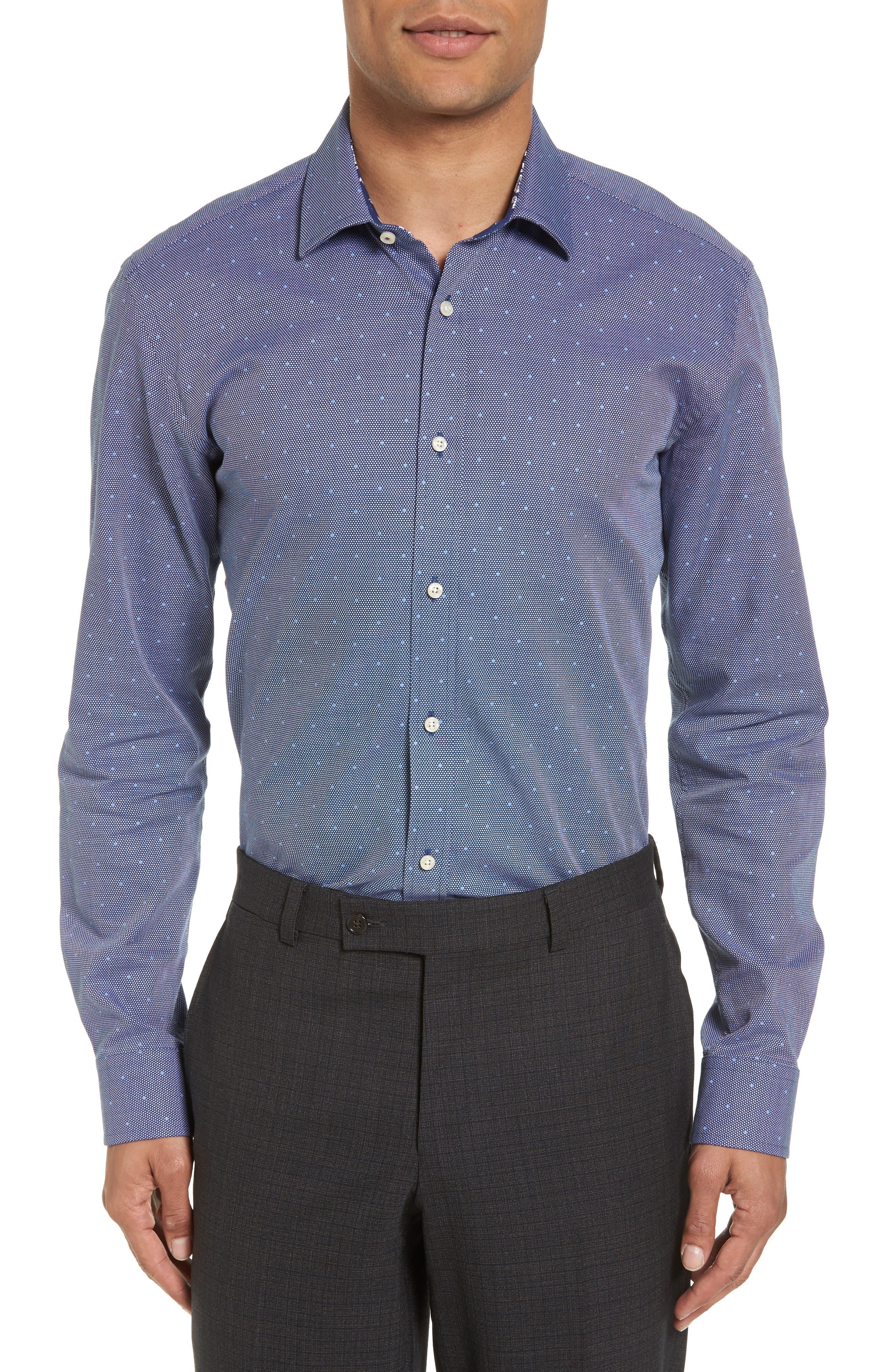 Trim Fit Dot Dress Shirt,                             Main thumbnail 1, color,                             410